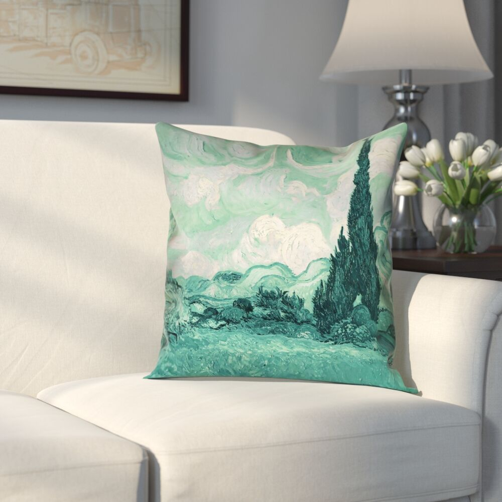 Keating Green Wheatfield with Cypresses Faux Suede Pillow Cover Size: 18