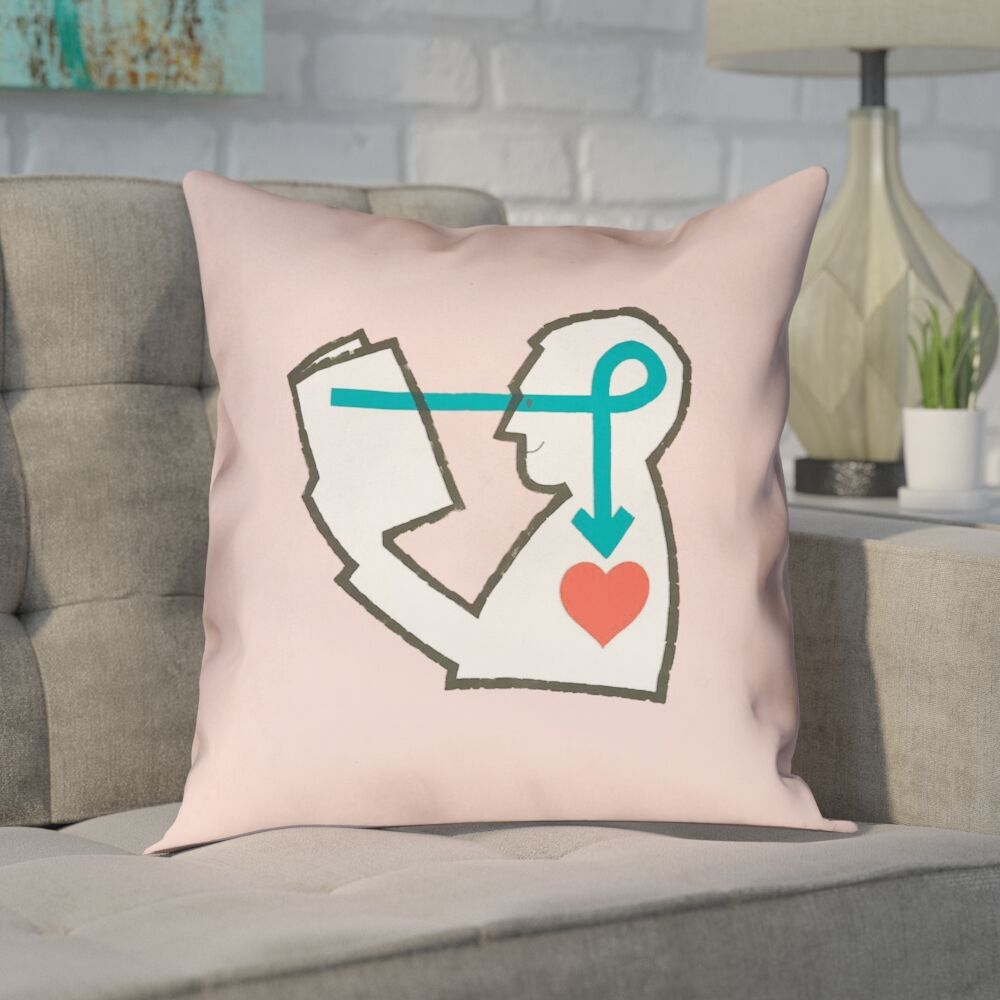Enciso Reading Love Pink Throw Pillow Color: Pink, Size: 16