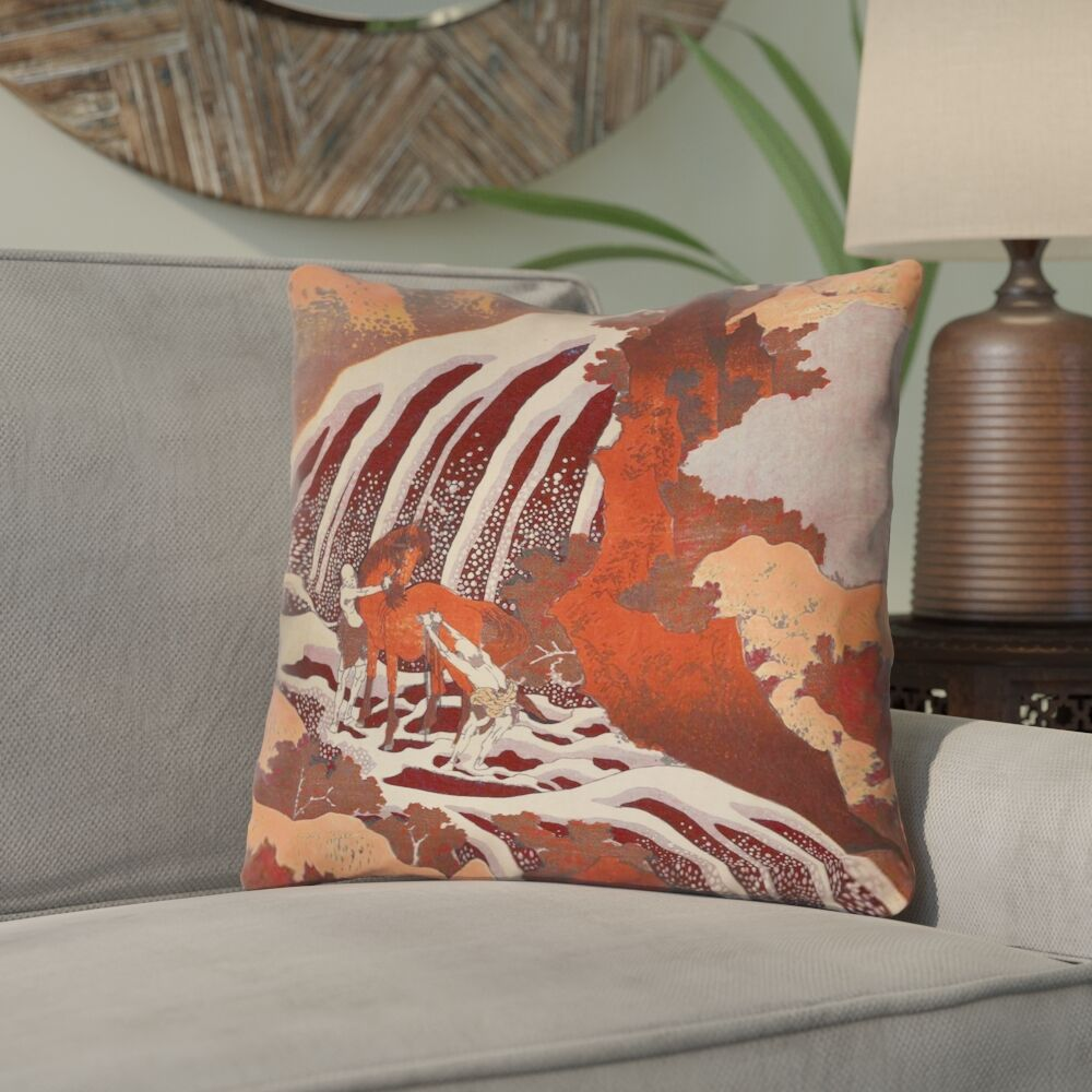 Yasmina Modern Square Horse and Waterfall Throw Pillow Size: 14