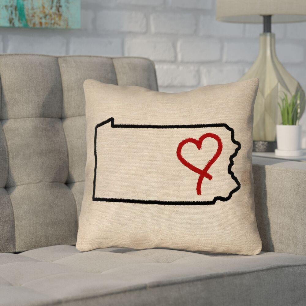 Sherilyn Pennsylvania Love Outdoor Throw Pillow Size: 20