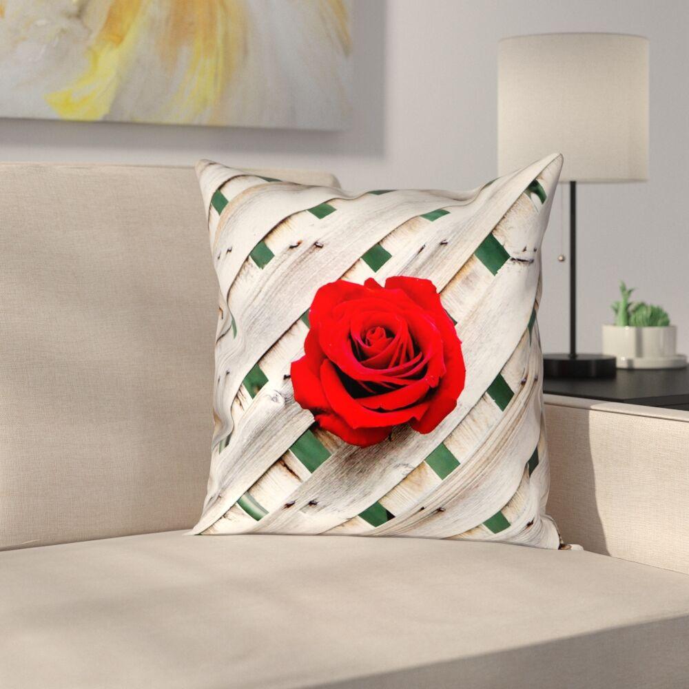 Hansard Fence Rose Throw Pillow Size: 16