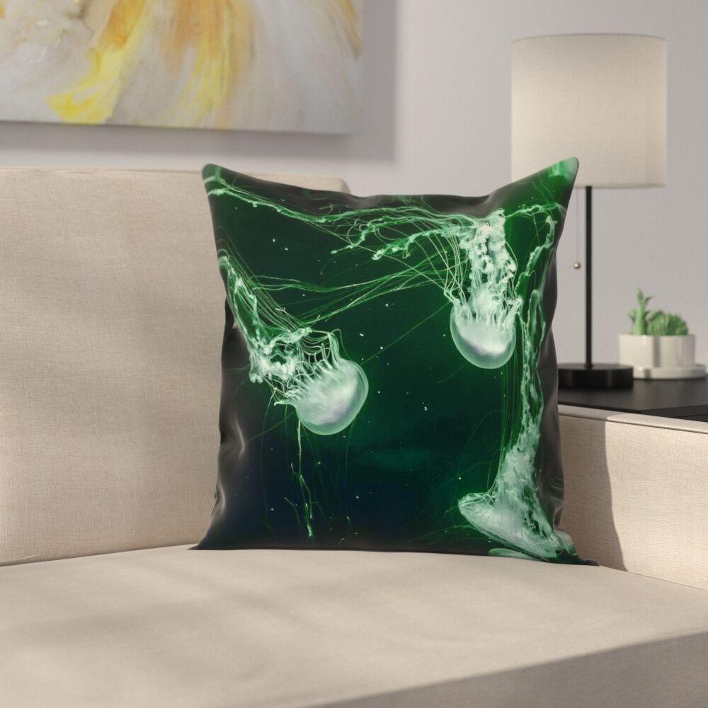 Roughton Coastal Green Jellyfish Pillow Cover Size: 14