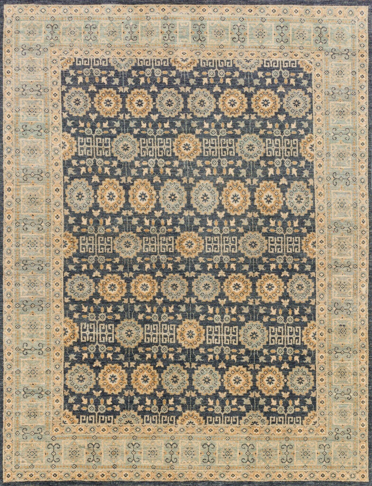 Durden Hand Woven Wool Indigo/Light Blue Area Rug Rug Size: Runner 2'6