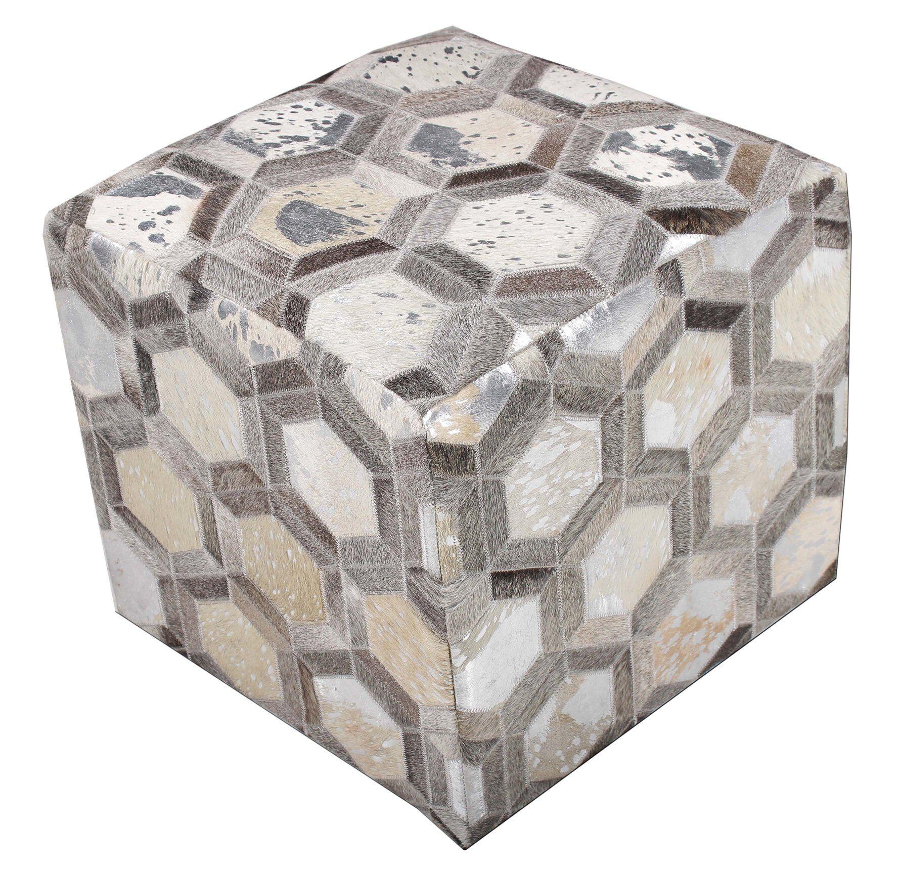 Chesapeake Cube Ottoman Upholstery: Silver Hexagon