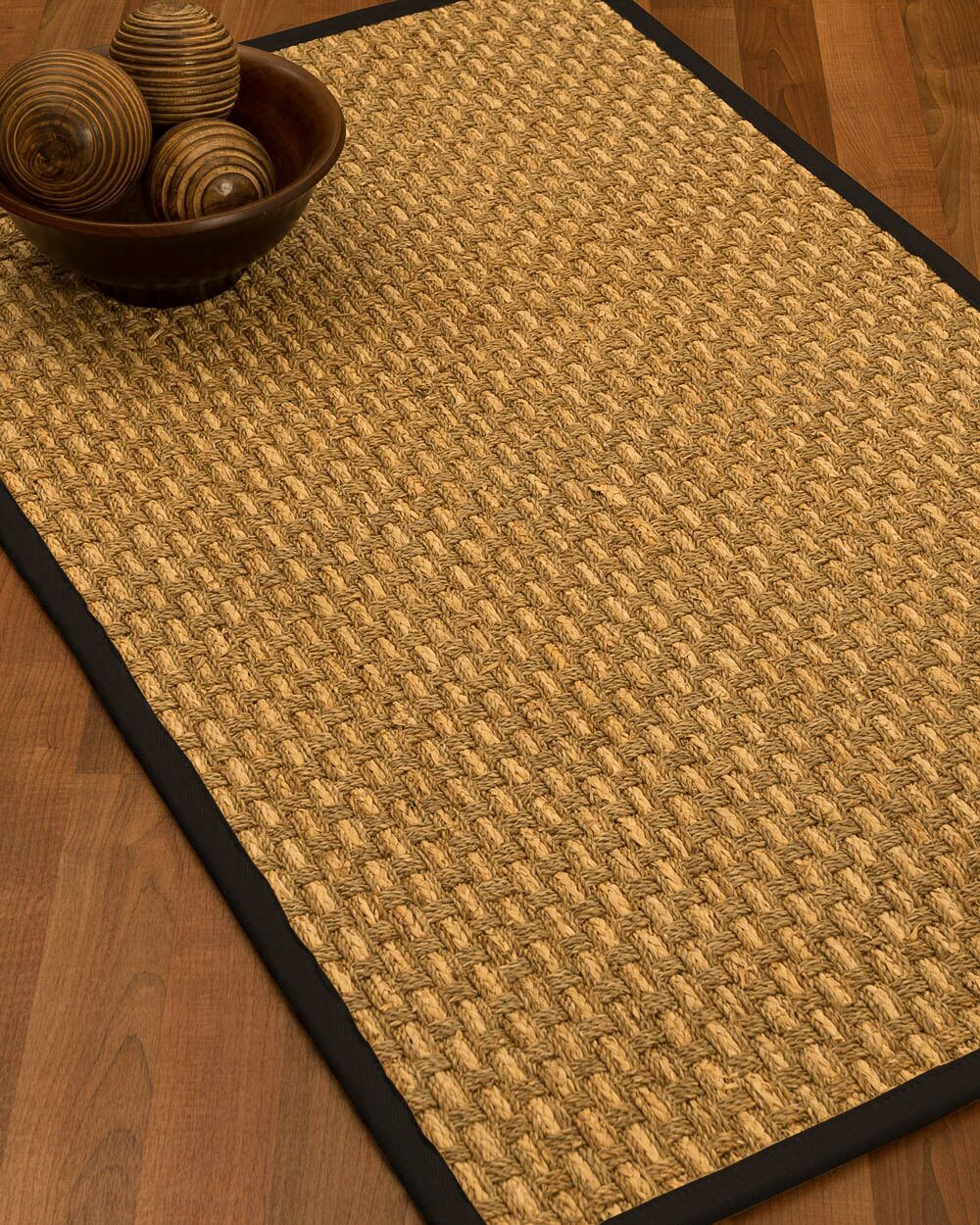 Castiglia Border Hand-Woven Beige/Black Area Rug Rug Size: Rectangle 5' x 8', Rug Pad Included: Yes
