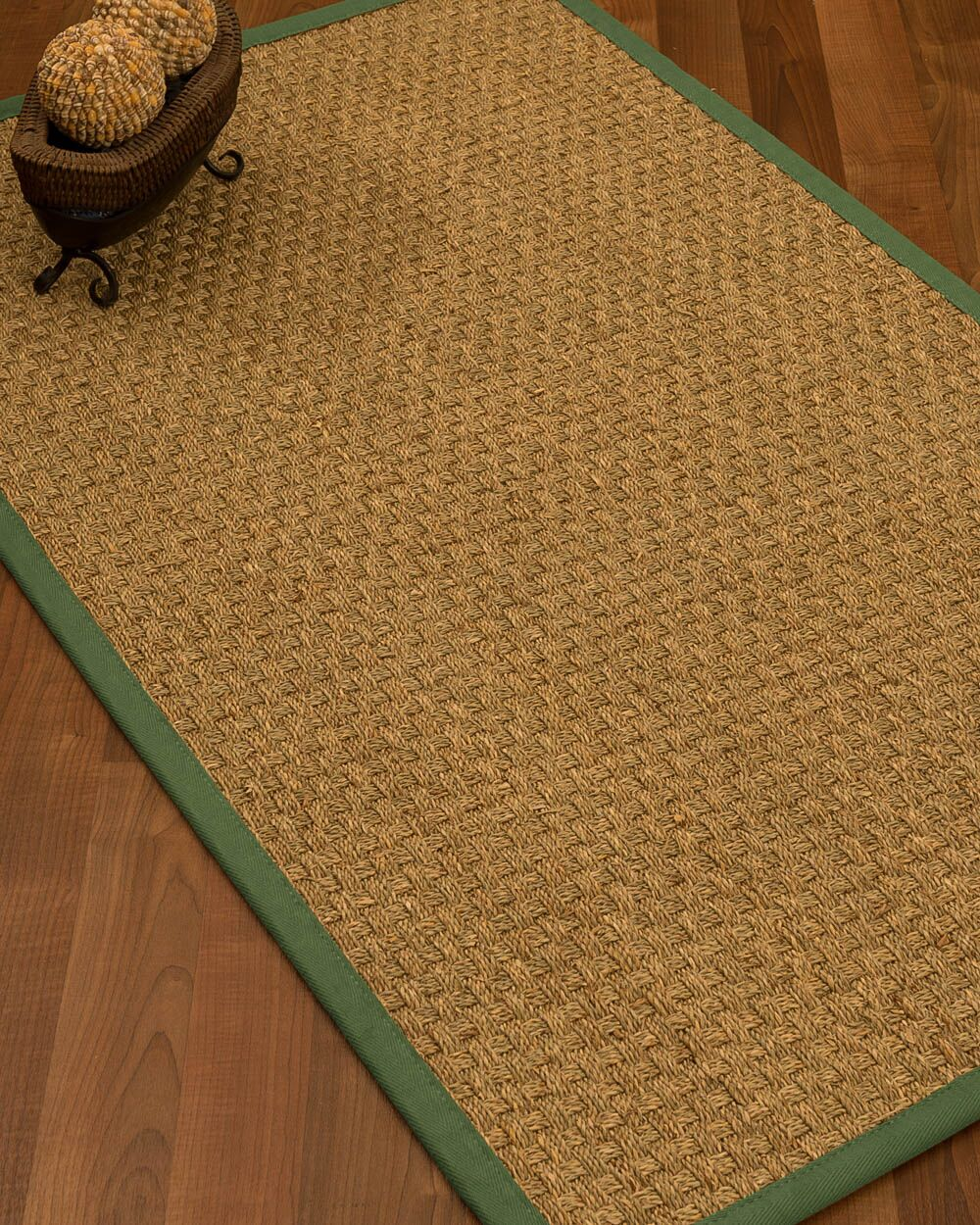 Antiqua Border Hand-Woven Beige/Green Area Rug Rug Pad Included: No, Rug Size: Runner 2'6