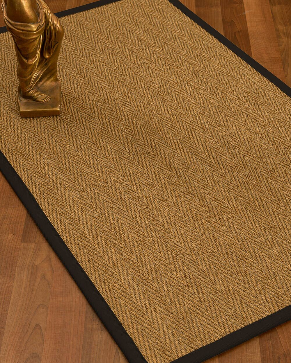 Mahaney Border Hand-Woven Beige/Black Area Rug Rug Size: Rectangle 4' x 6', Rug Pad Included: Yes