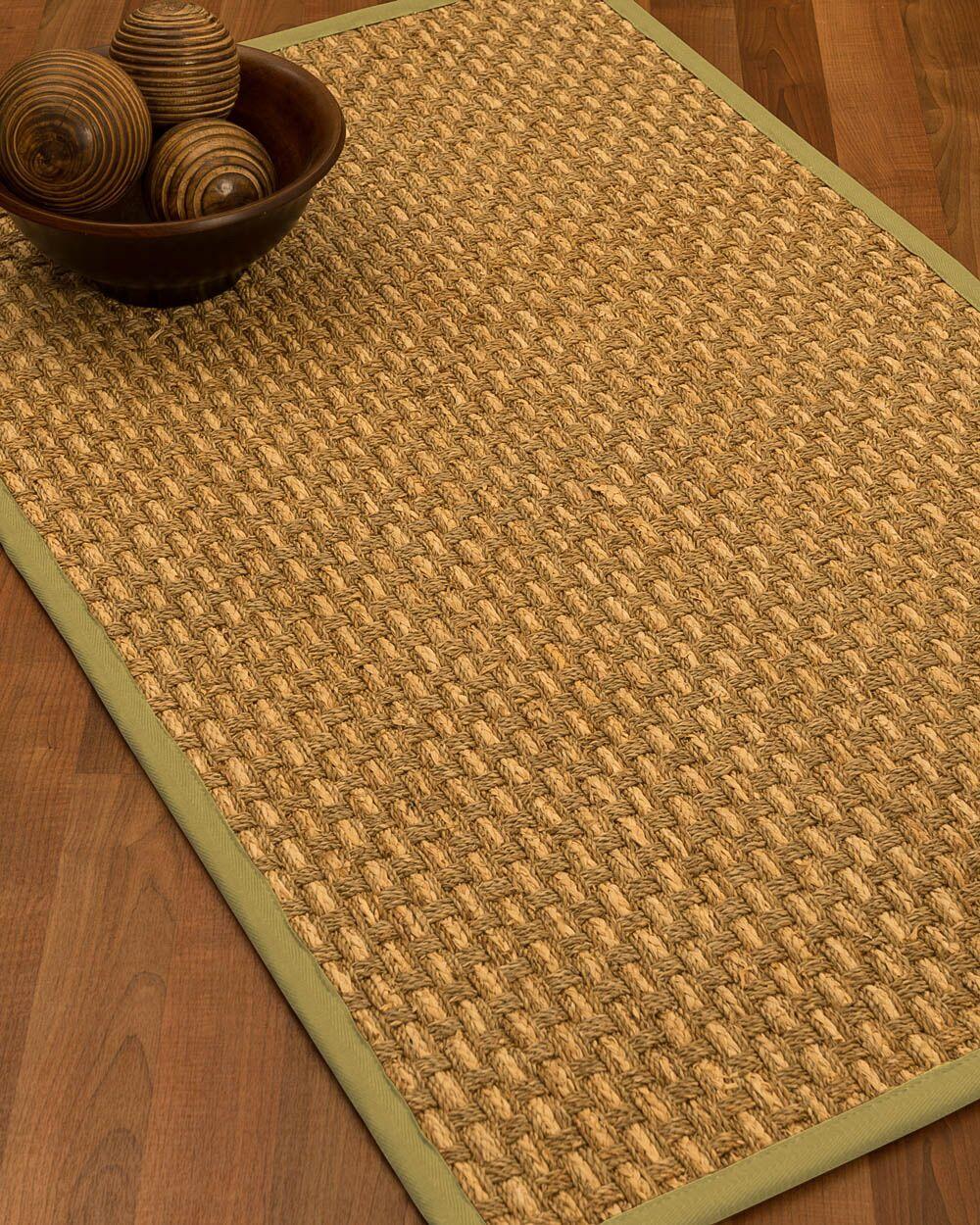 Castiglia Border Hand-Woven Beige/Khaki Area Rug Rug Size: Rectangle 5' x 8', Rug Pad Included: Yes