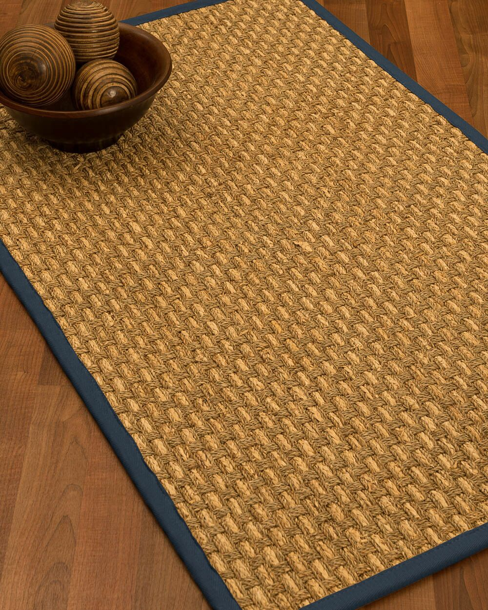 Castiglia Border Hand-Woven Beige/Marine Area Rug Rug Pad Included: No, Rug Size: Runner 2'6