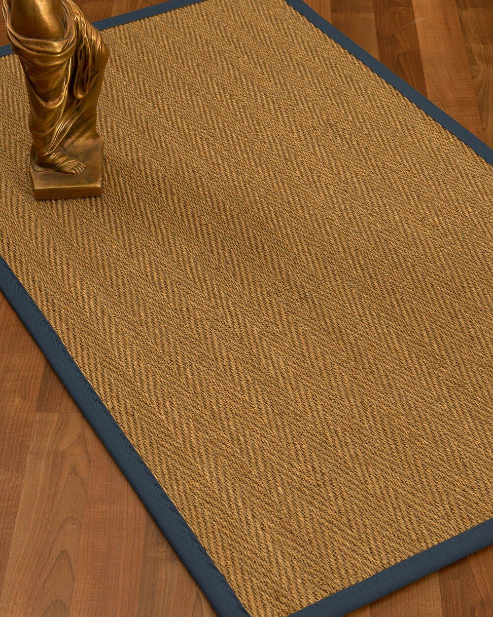 Mahaney Border Hand-Woven Beige/Marine Area Rug Rug Size: Rectangle 4' x 6', Rug Pad Included: Yes