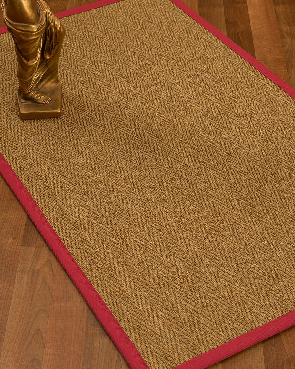 Mahaney Border Hand-Woven Beige/Red Area Rug Rug Size: Rectangle 5' x 8', Rug Pad Included: Yes