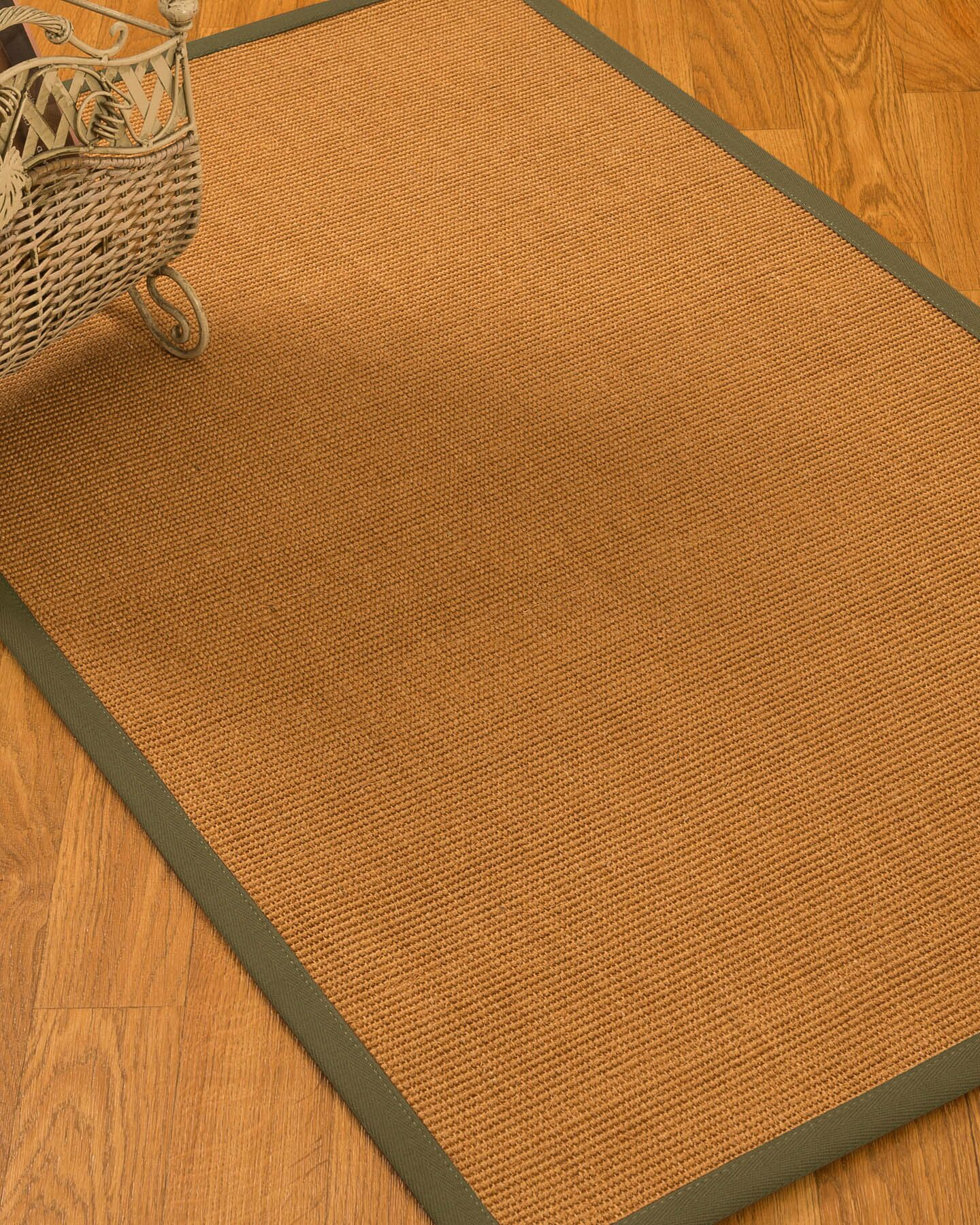 Kennell Border Hand-Woven Beige/Olive Area Rug Rug Size: Rectangle 9' x 12', Rug Pad Included: Yes