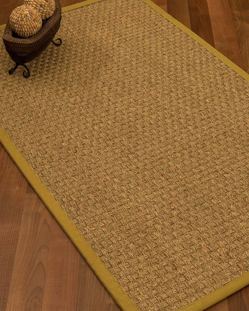 Antiqua Border Hand-Woven Beige/Tan Area Rug Rug Size: Rectangle 5' x 8', Rug Pad Included: Yes