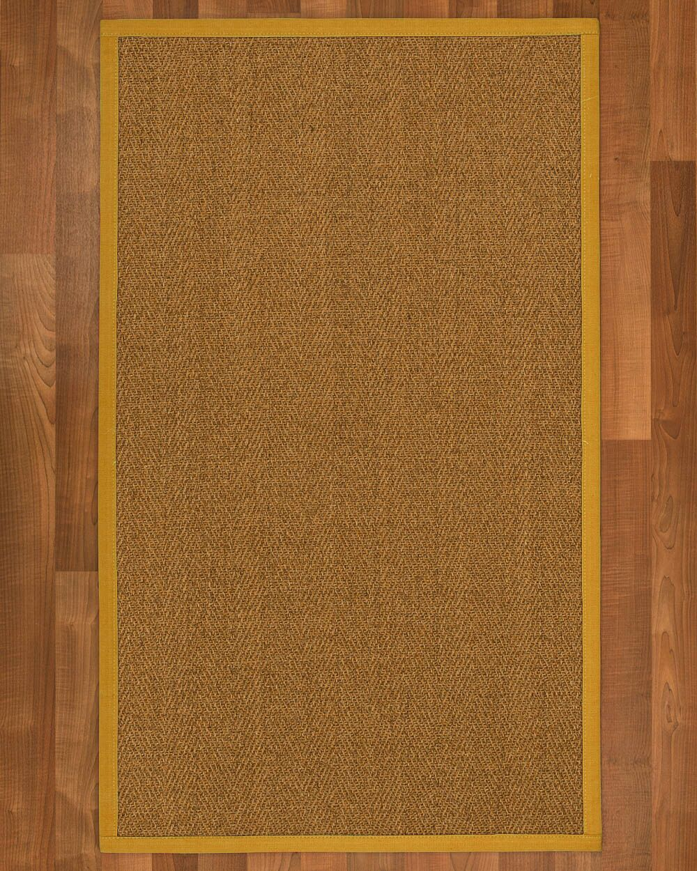 Asmund Border Hand-Woven Brown/Tan Area Rug Rug Size: Rectangle 12' x 15', Rug Pad Included: Yes