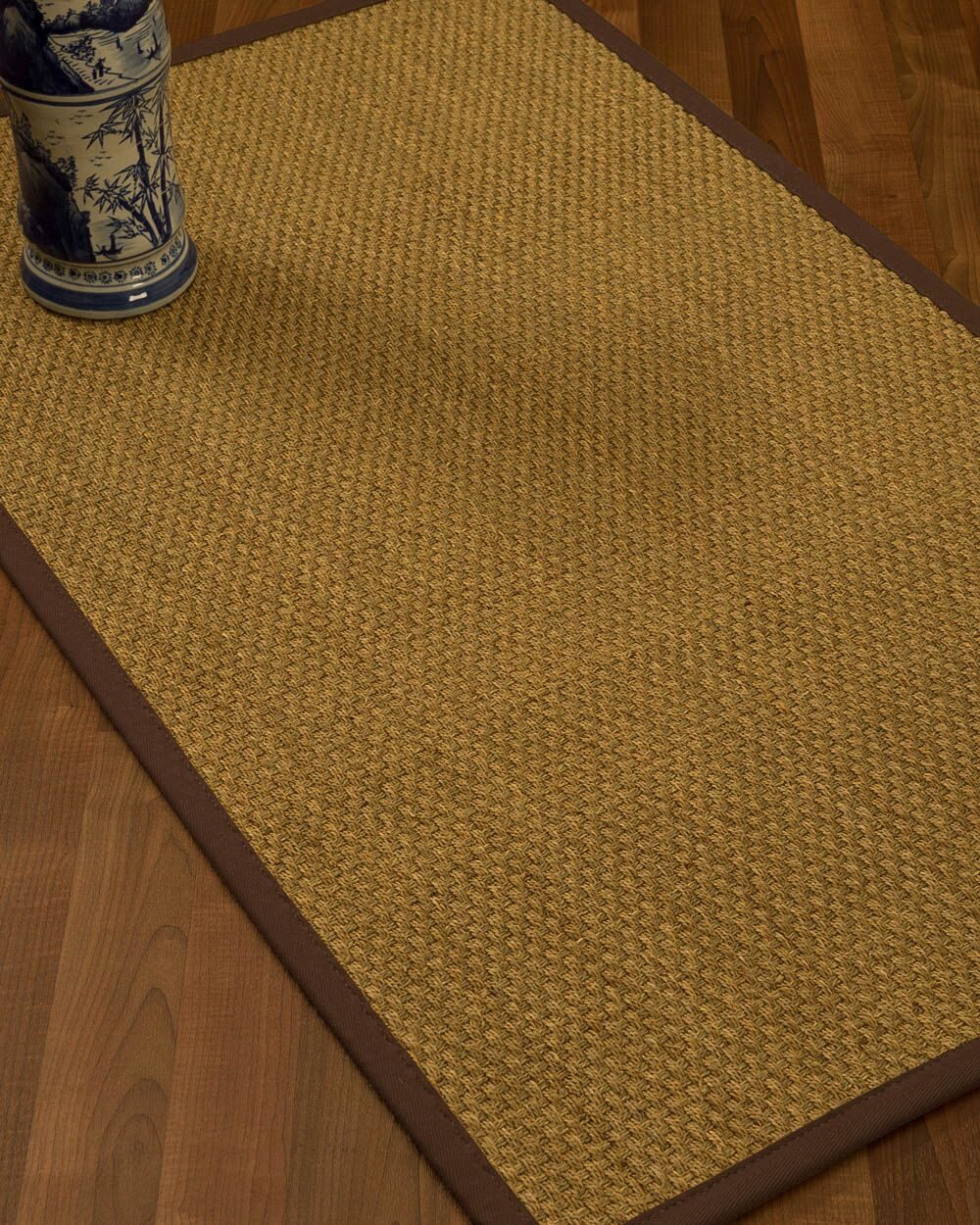 Rosabel Border Hand-Woven Beige/Brown Area Rug Rug Size: Rectangle 8' x 10', Rug Pad Included: Yes