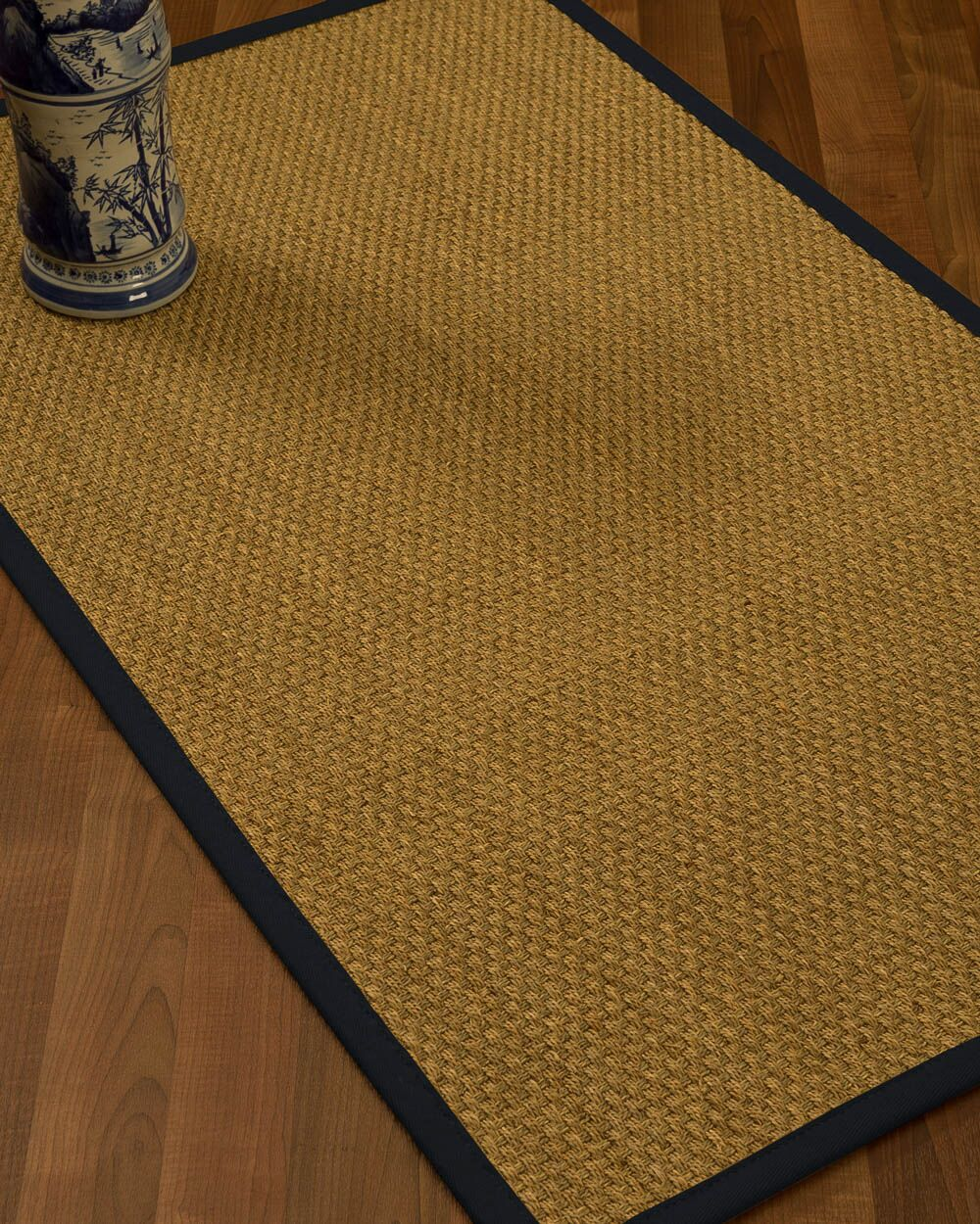 Rosabel Border Hand-Woven Beige/Midnight Blue Area Rug Rug Size: Rectangle 9' x 12', Rug Pad Included: Yes