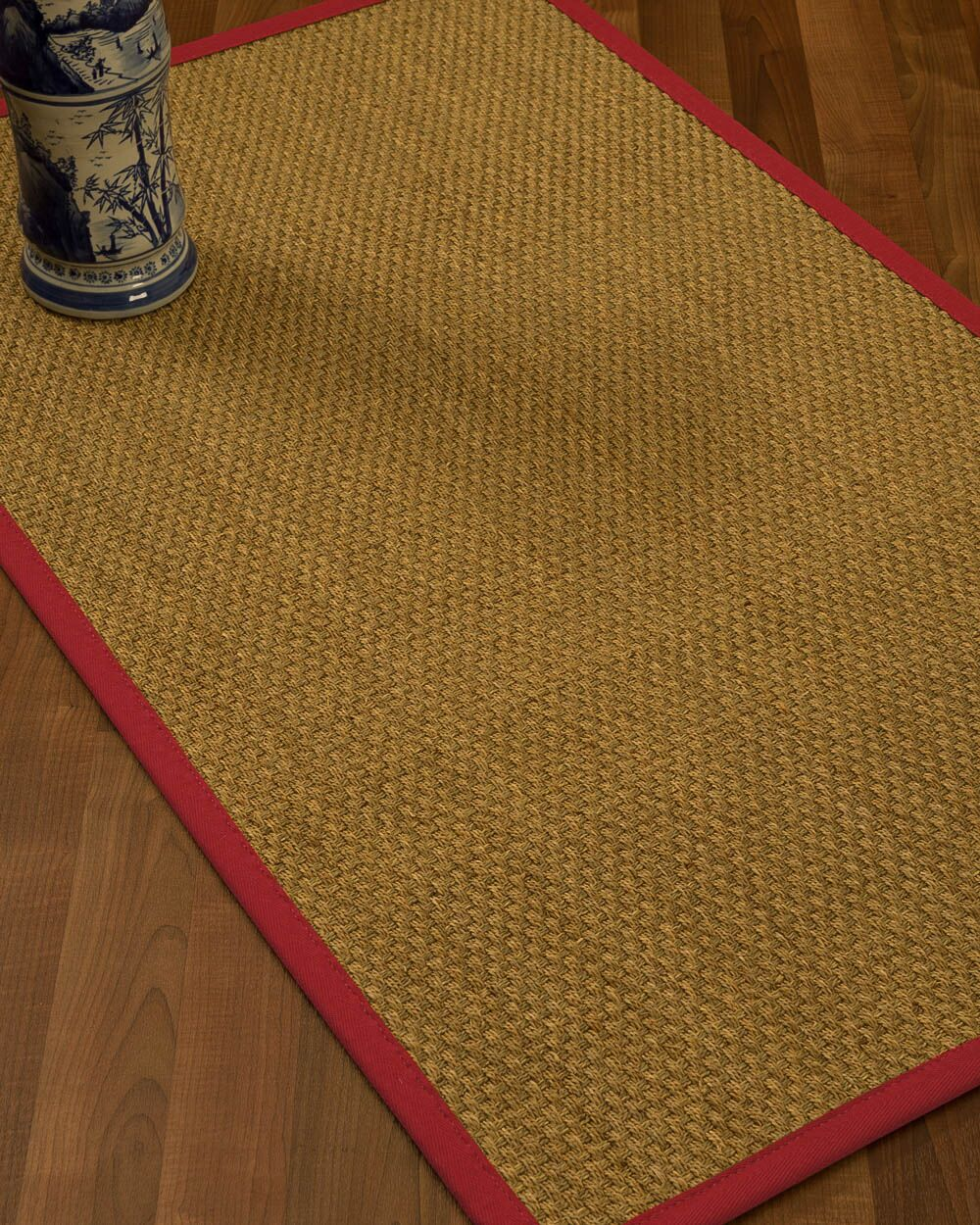 Rosabel Border Hand-Woven Beige/Red Area Rug Rug Size: Rectangle 9' x 12', Rug Pad Included: Yes