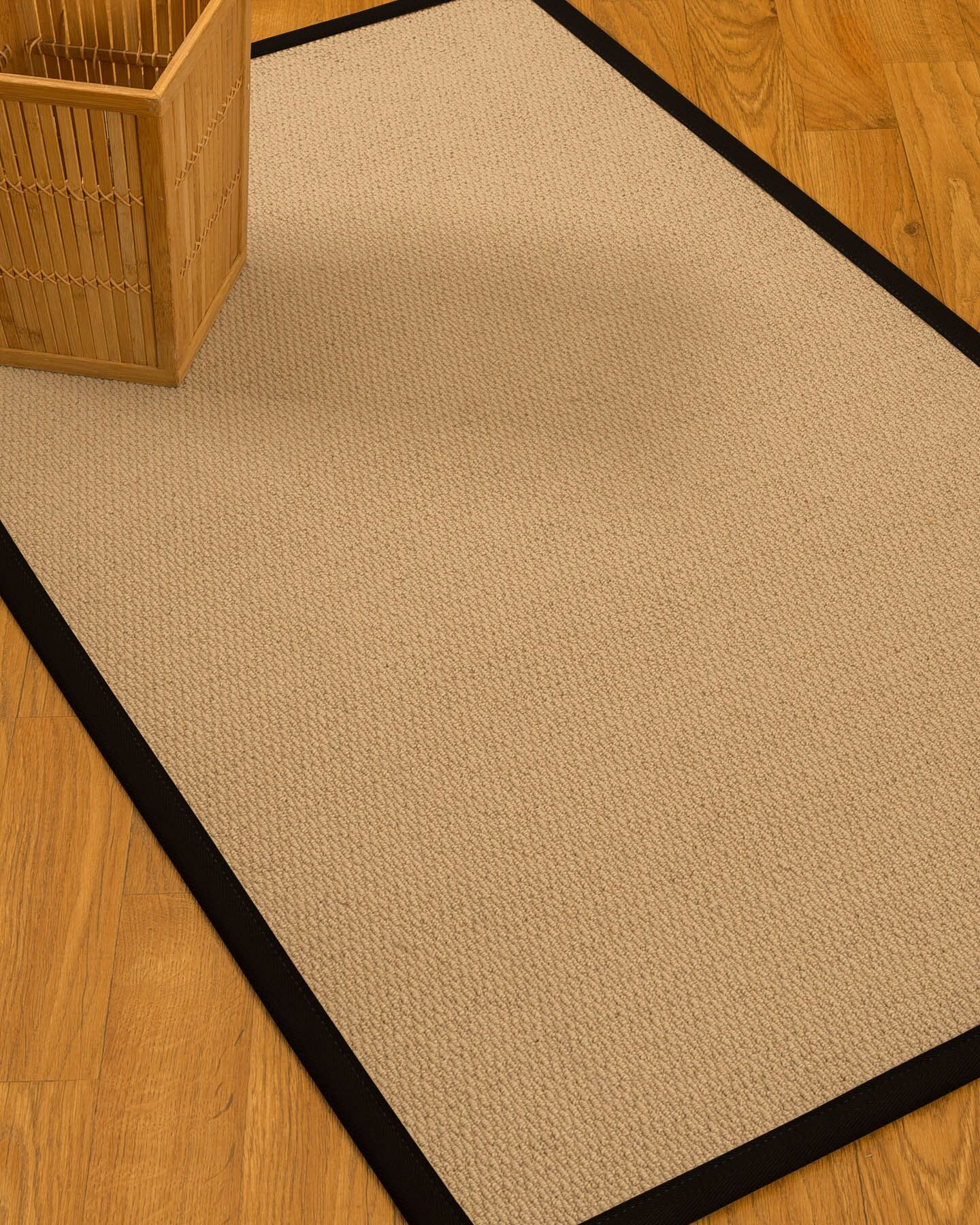 Chea Border Hand-Woven Wool Beige/Black Area Rug Rug Pad Included: No, Rug Size: Rectangle 3' x 5'