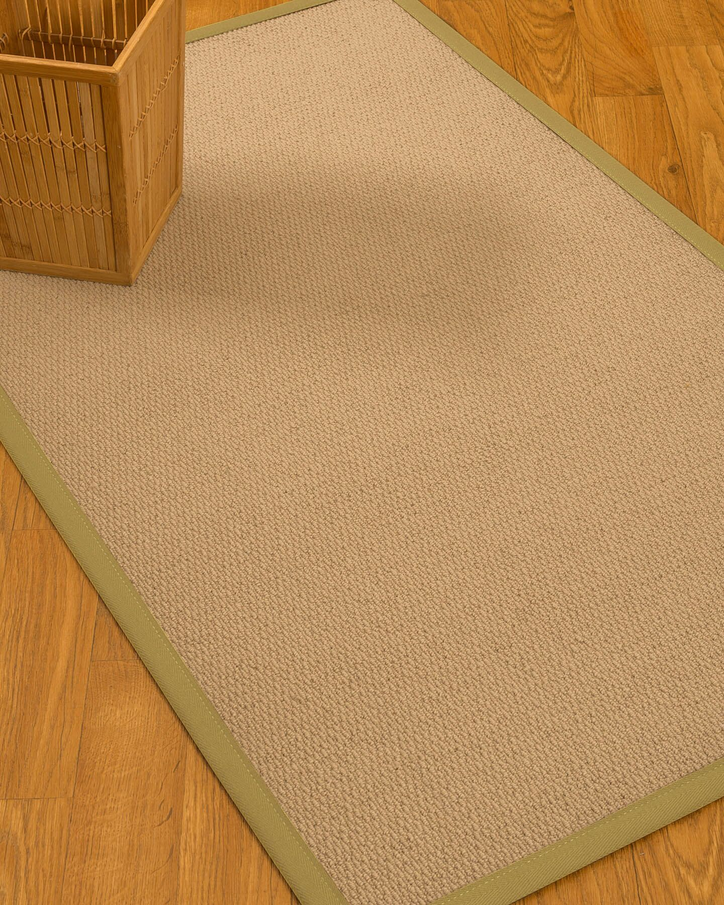 Chea Border Hand-Woven Wool Beige/Khaki Area Rug Rug Size: Rectangle 12' x 15', Rug Pad Included: Yes