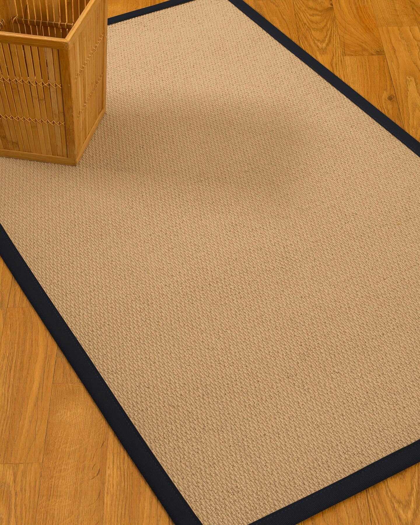 Chea Border Hand-Woven Wool Beige/Midnight Blue Area Rug Rug Size: Rectangle 8' x 10', Rug Pad Included: Yes