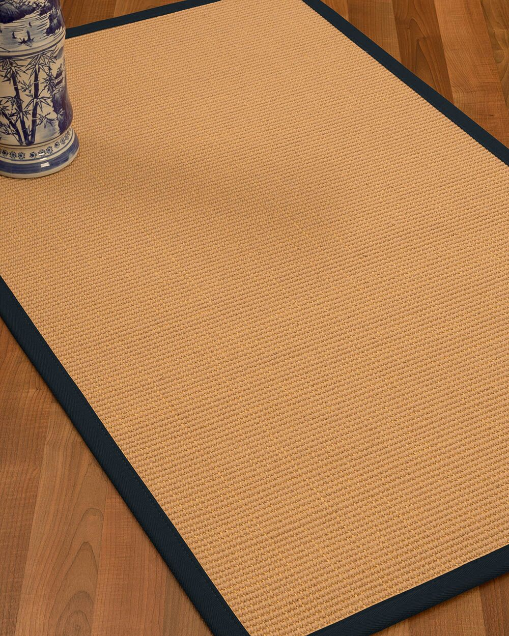 Lafayette Border Hand-Woven Wool Beige/Midnight Blue Area Rug Rug Size: Rectangle 6' x 9', Rug Pad Included: Yes