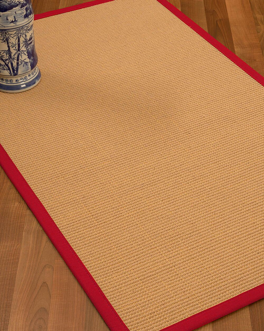 Lafayette Border Hand-Woven Wool Beige/Red Area Rug Rug Size: Rectangle 6' x 9', Rug Pad Included: Yes