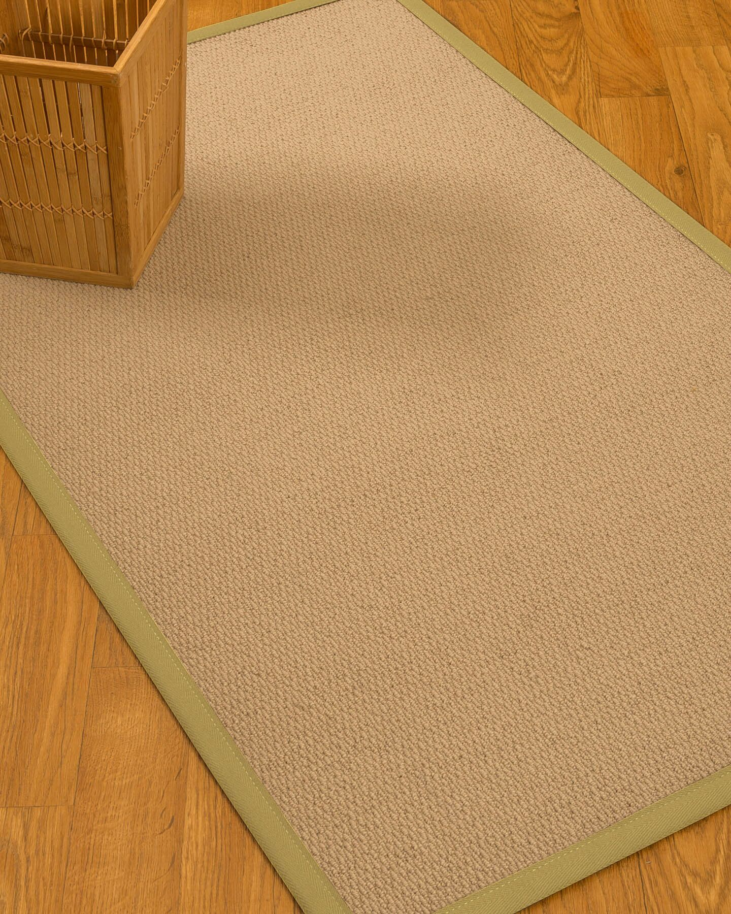 Chea Border Hand-Woven Wool Beige/Sand Area Rug Rug Size: Rectangle 5' x 8', Rug Pad Included: Yes