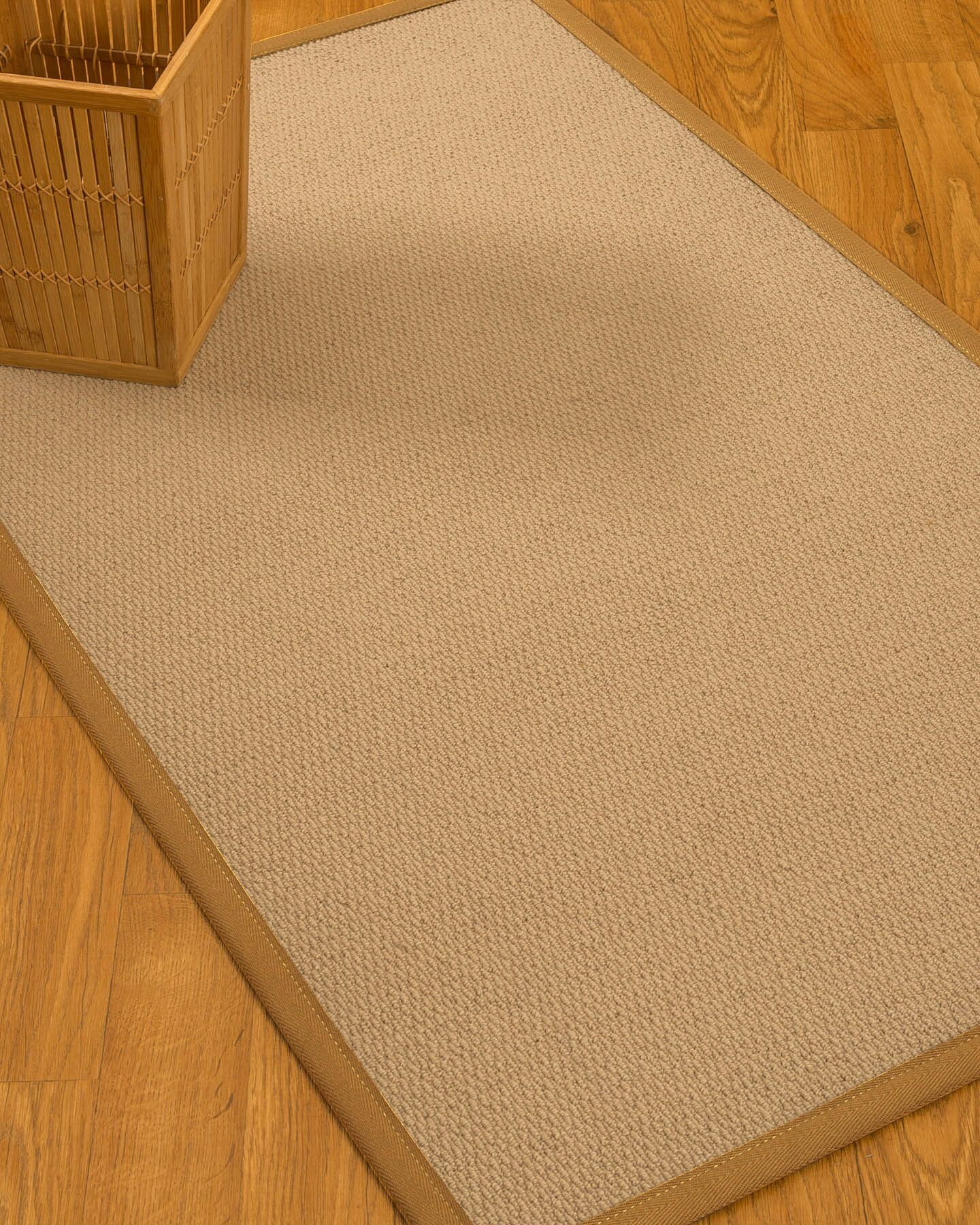 Chea Border Hand-Woven Woaol Beige/Sienna Area Rug Rug Size: Rectangle 5' x 8', Rug Pad Included: Yes