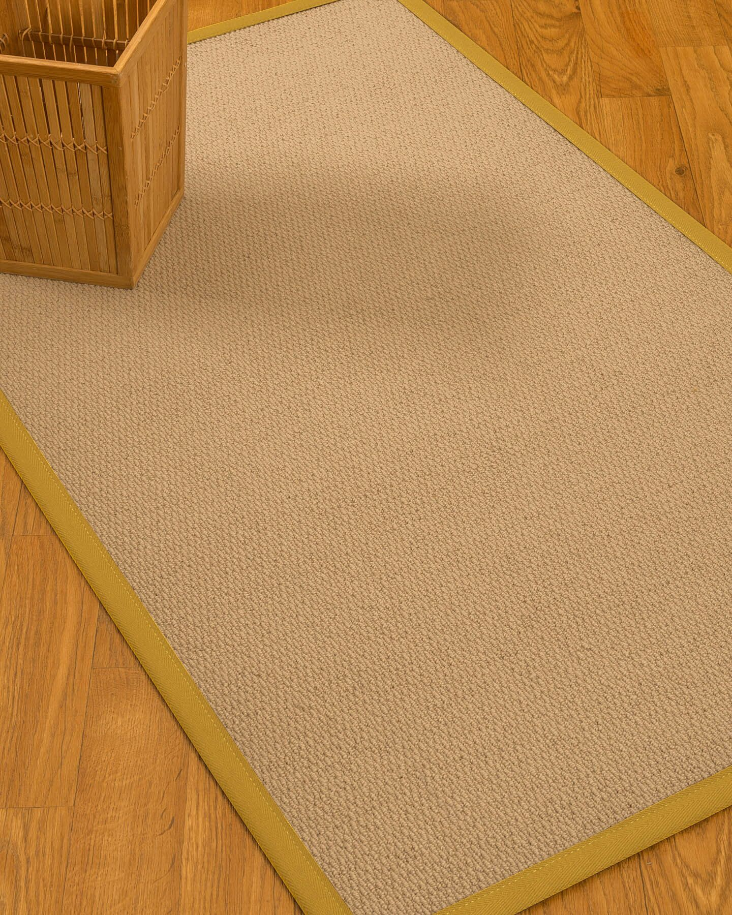 Chea Border Hand-Woven Wool Beige/Tan Area Rug Rug Size: Rectangle 6' x 9', Rug Pad Included: Yes