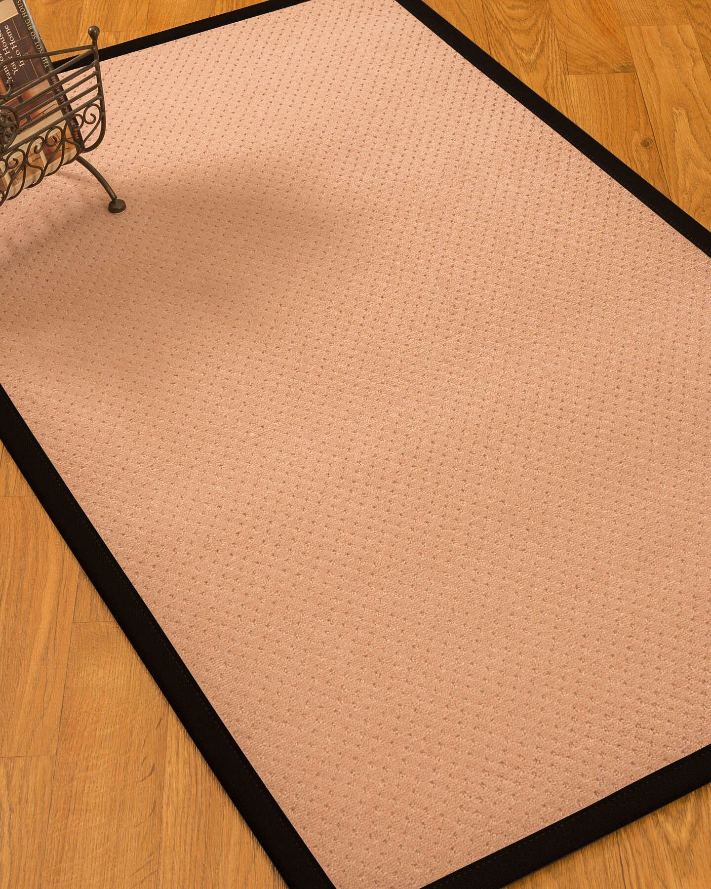 Farnham Border Hand-Woven Wool Pink/Black Area Rug Rug Size: Rectangle 8' x 10', Rug Pad Included: Yes