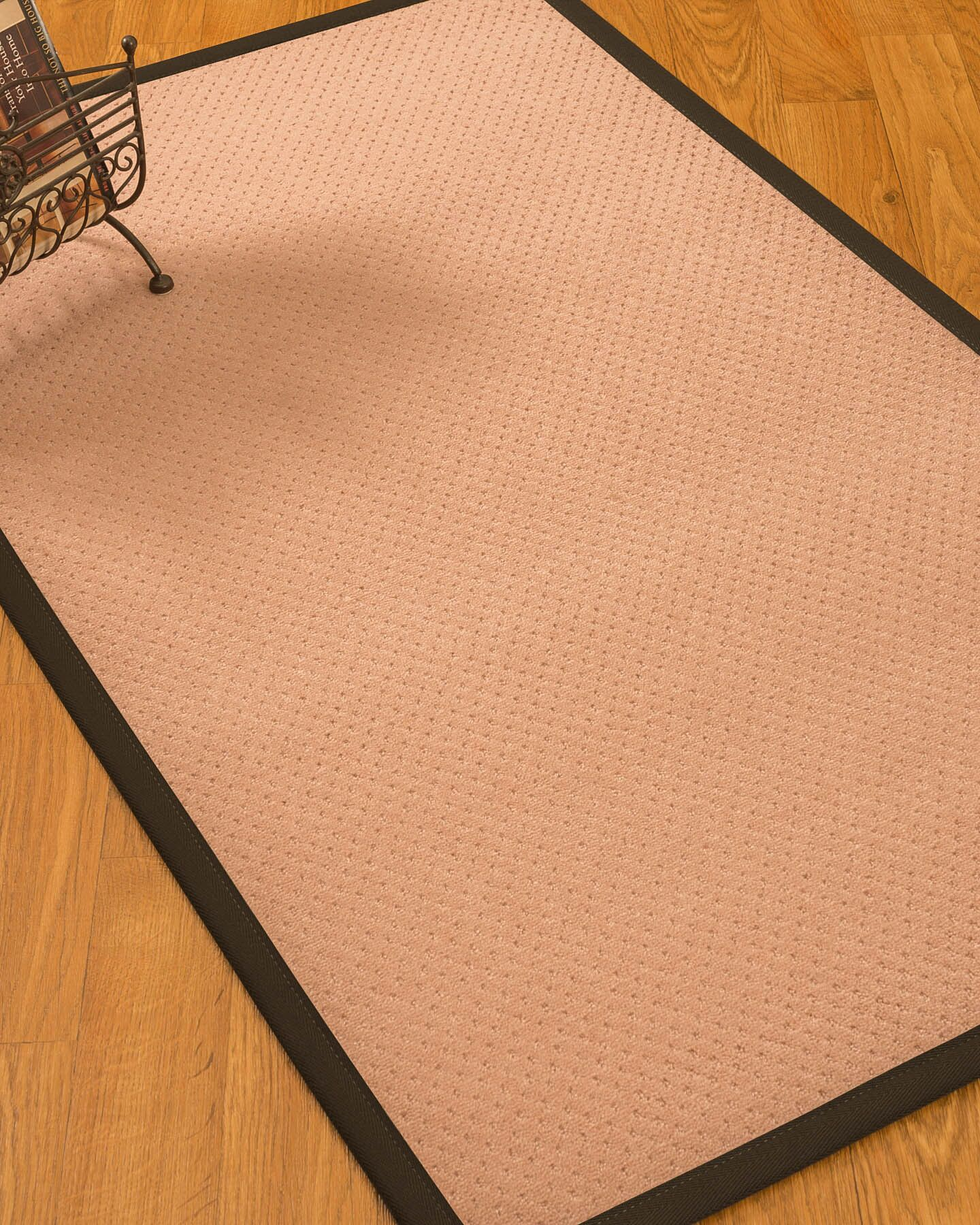 Farnham Border Hand-Woven Wool Pink/Fudge Area Rug Rug Size: Rectangle 5' x 8', Rug Pad Included: Yes