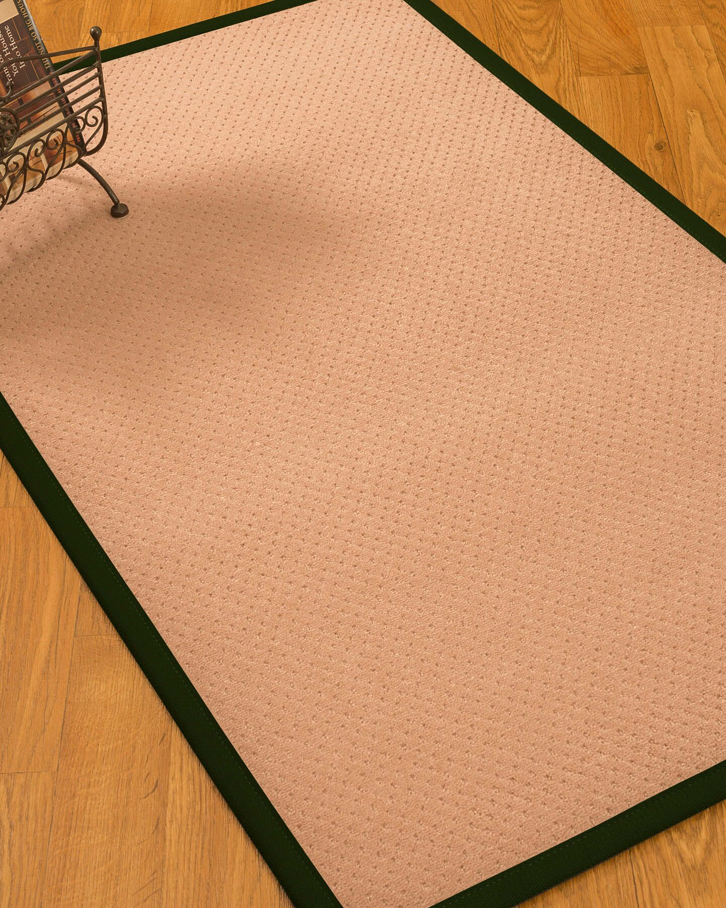 Farnham Border Hand-Woven Wool Pink/Moss Area Rug Rug Size: Rectangle 4' x 6', Rug Pad Included: Yes