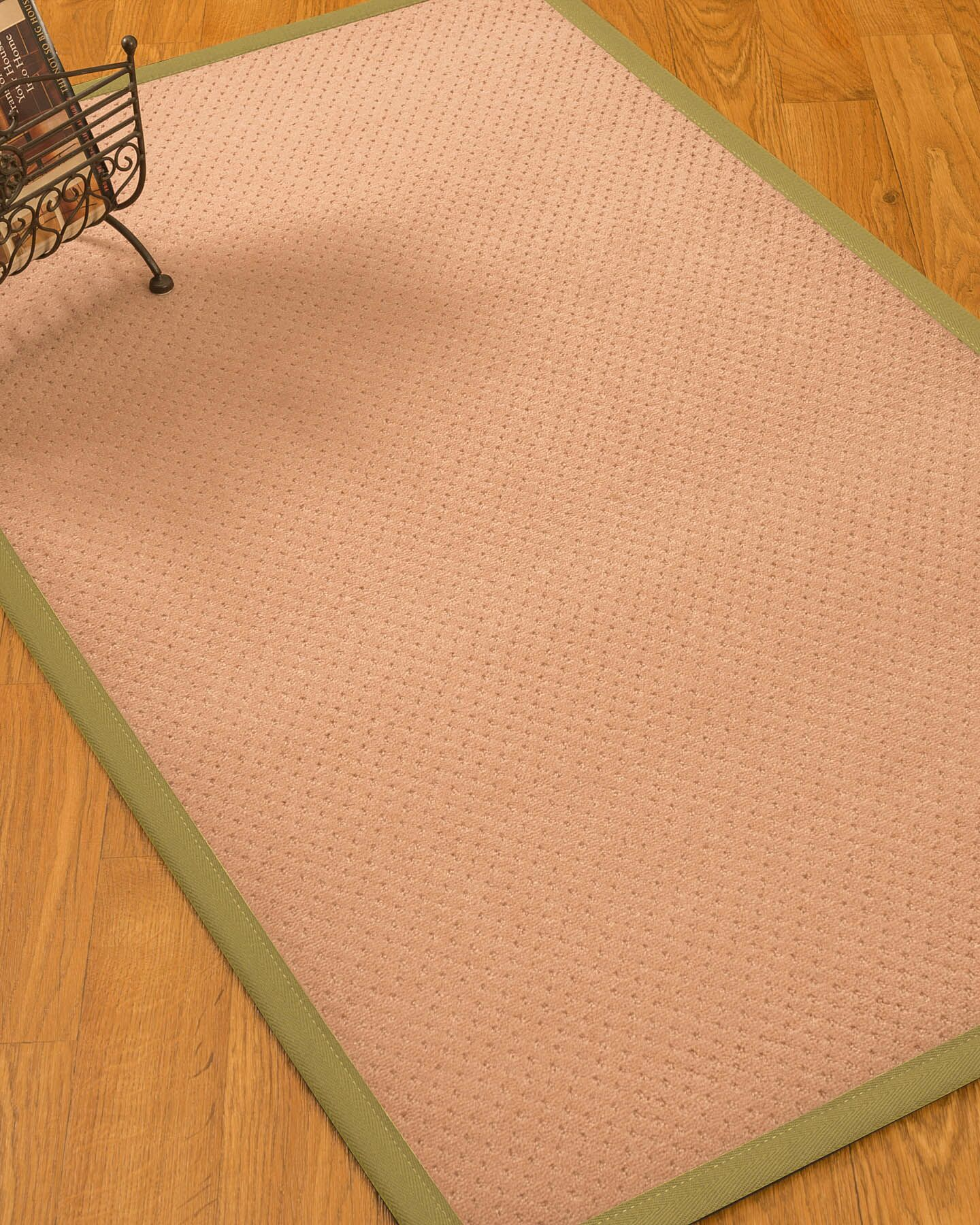 Farnham Border Hand-Woven Wool Pink/Natural Area Rug Rug Pad Included: No, Rug Size: Rectangle 3' x 5'