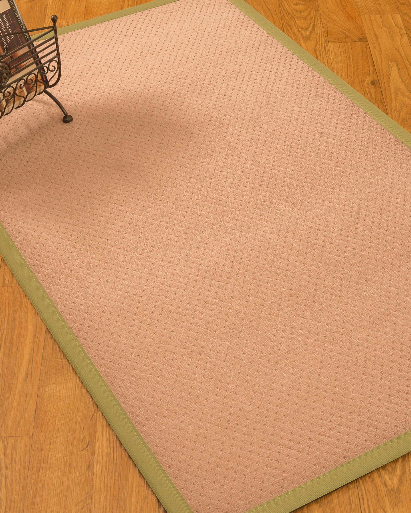 Farnham Border Hand-Woven Wool Pink/Sand Area Rug Rug Size: Rectangle 12' x 15', Rug Pad Included: Yes