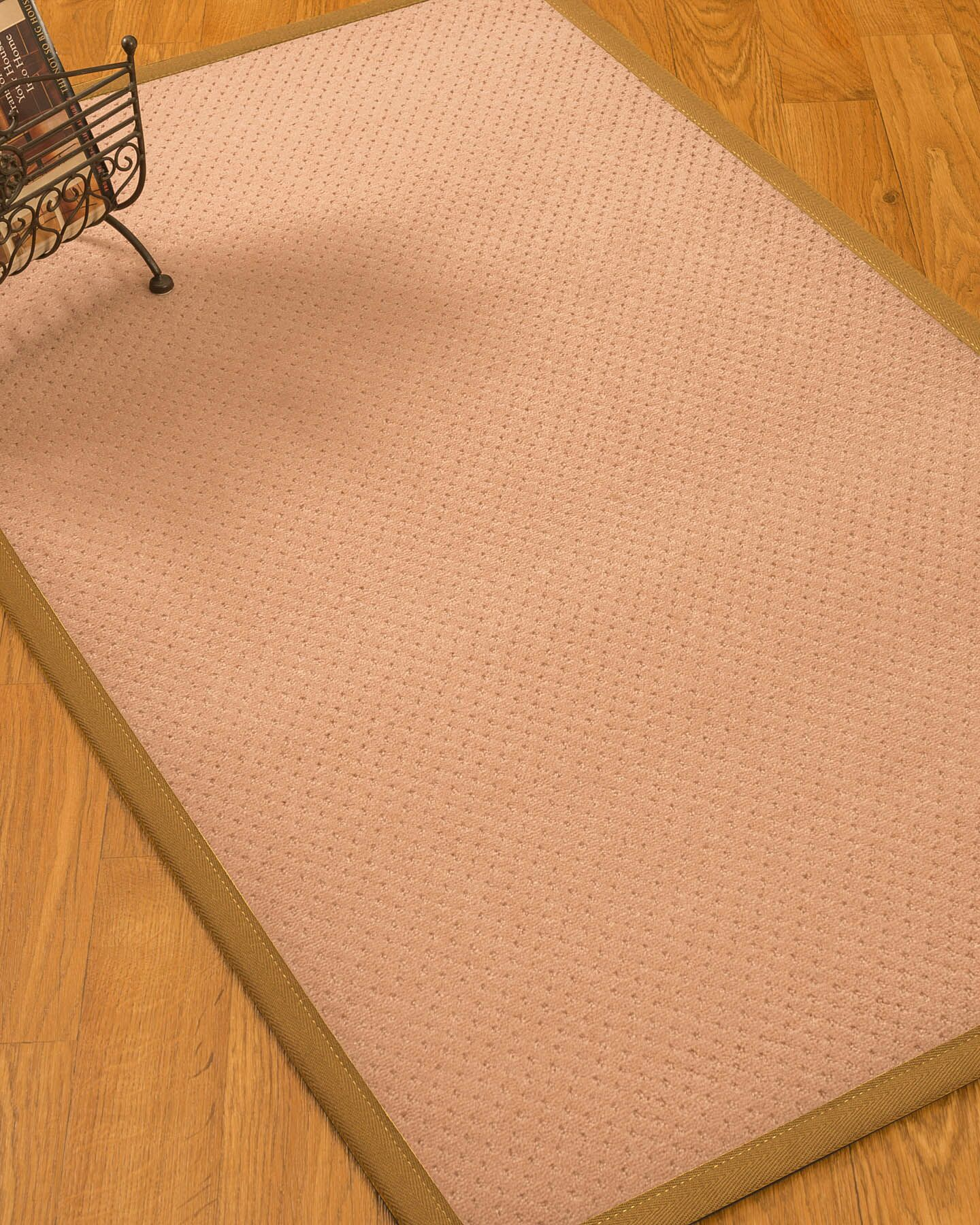 Farnham Border Hand-Woven Wool Pink/Khaki Area Rug Rug Size: Rectangle 5' x 8', Rug Pad Included: Yes