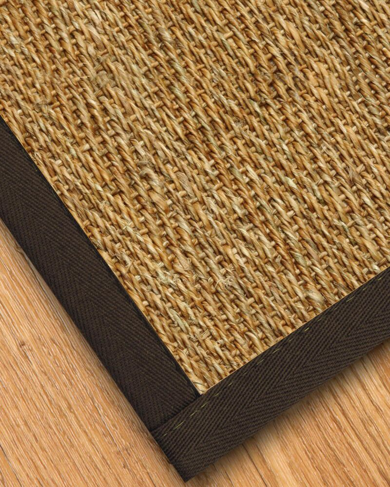 Kendig Border Hand-Woven Brown Area Rug Rug Size: Rectangle 6' x 9', Rug Pad Included: Yes