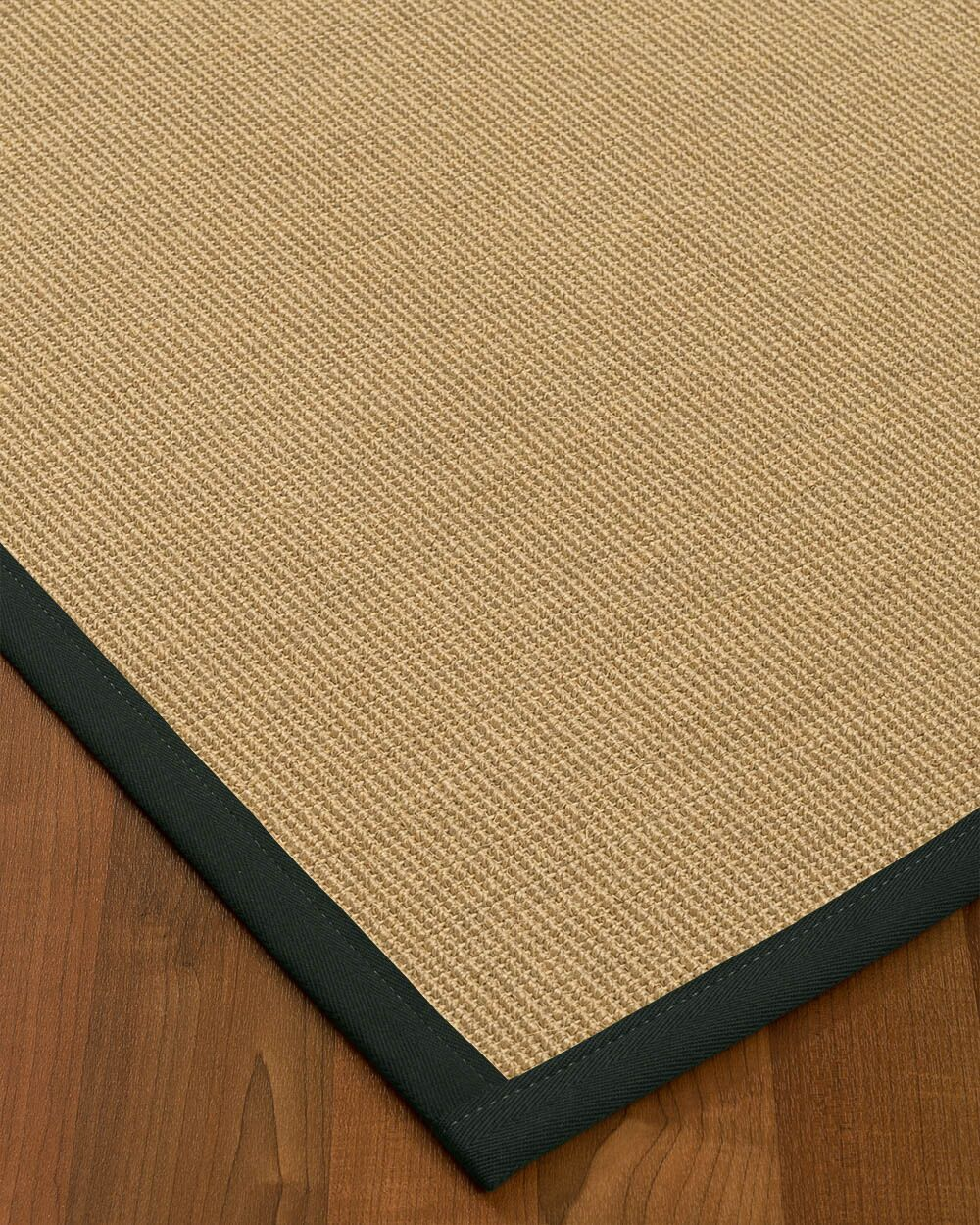 Atwell Border Hand-Woven Beige/Onyx Area Rug Rug Size: Rectangle 4' x 6', Rug Pad Included: Yes