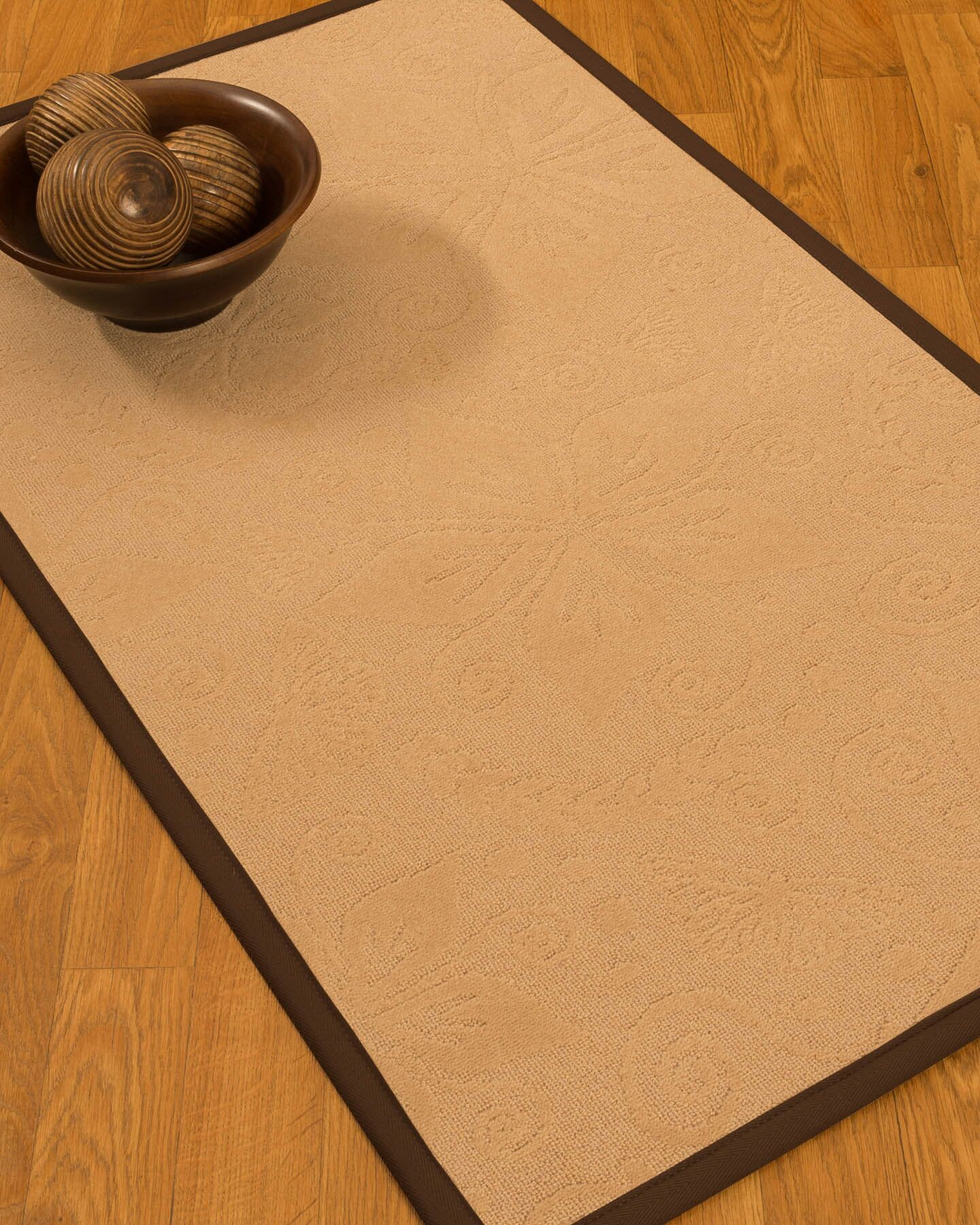 Vanmeter Border Hand-Woven Wool Beige/Brown Area Rug Rug Size: Rectangle 6' x 9', Rug Pad Included: Yes