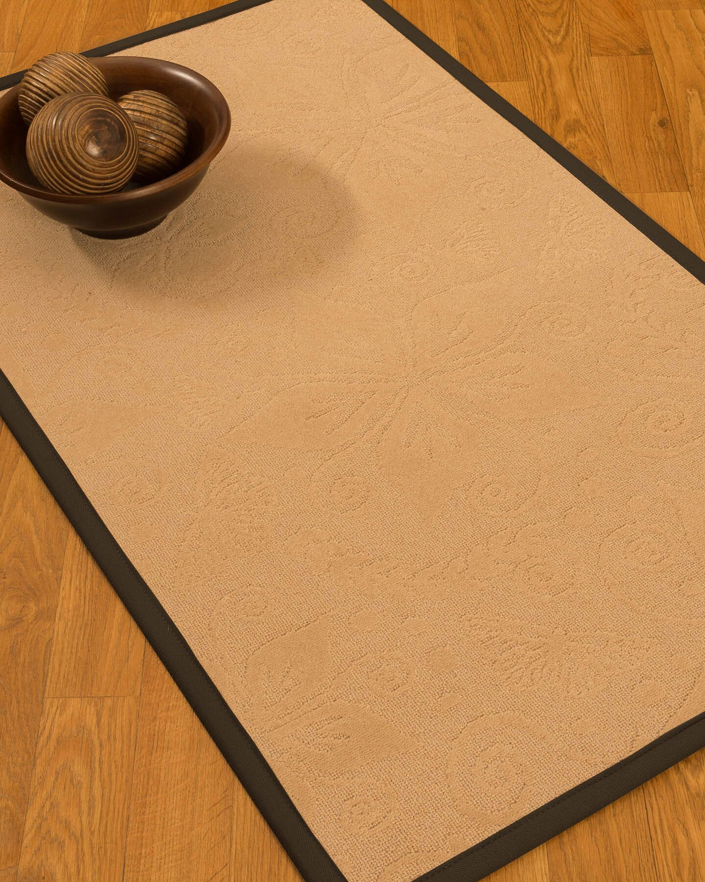 Vanmeter Border Hand-Woven Wool Beige/Fudge Area Rug Rug Pad Included: No, Rug Size: Runner 2'6