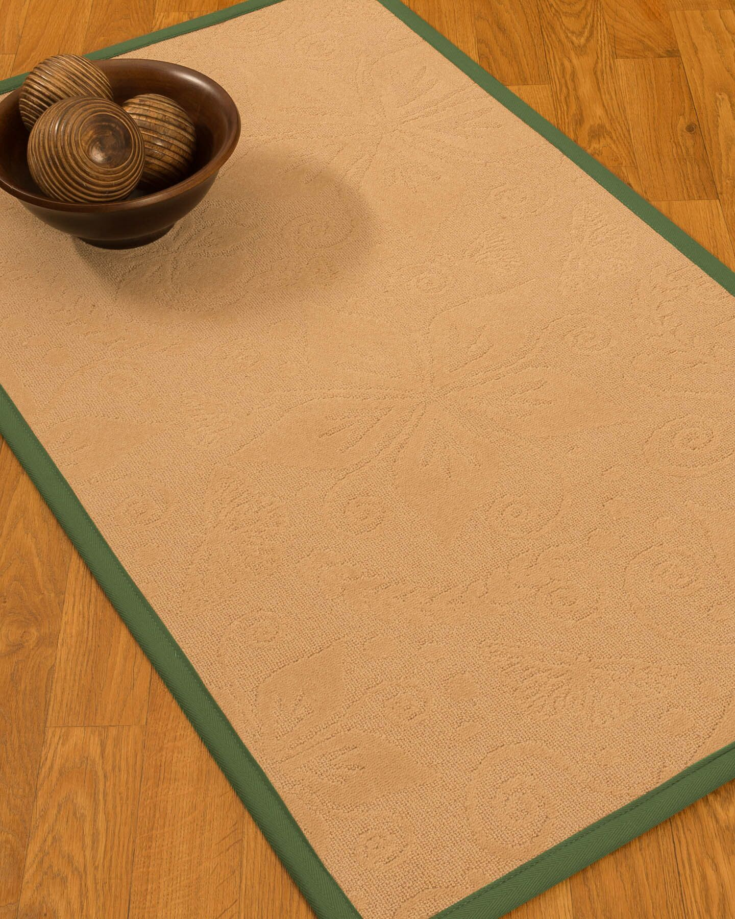 Vanmeter Border Hand-Woven Wool Beige/Green Area Rug Rug Pad Included: No, Rug Size: Rectangle 3' x 5'