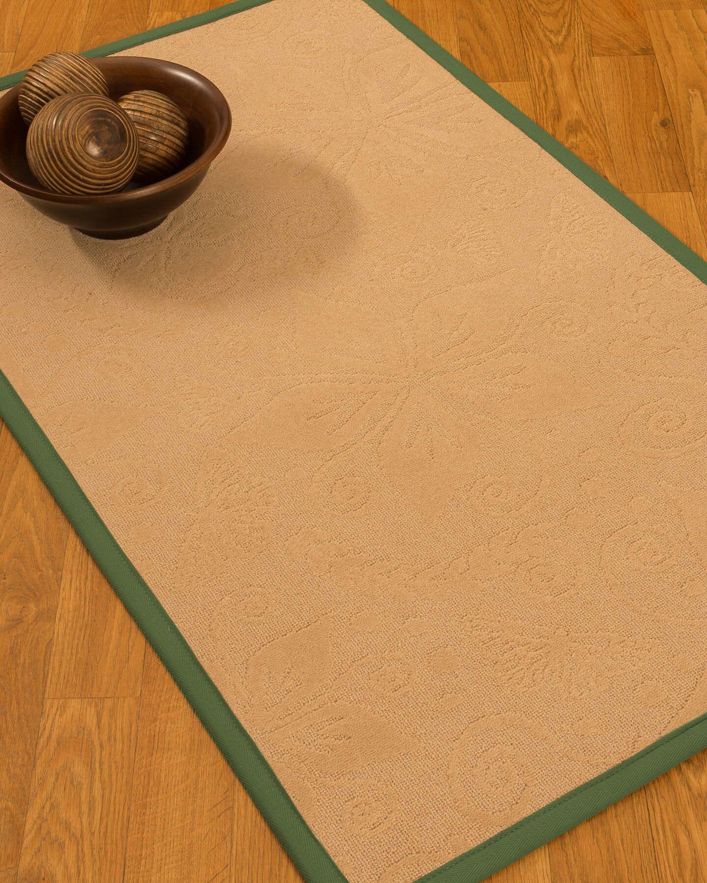 Vanmeter Border Hand-Woven Wool Beige/Green Area Rug Rug Pad Included: No, Rug Size: Runner 2'6
