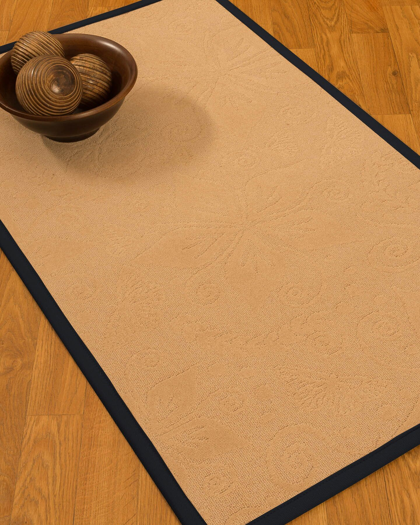 Vanmeter Border Hand-Woven Wool Beige/Midnight Blue Area Rug Rug Pad Included: No, Rug Size: Runner 2'6