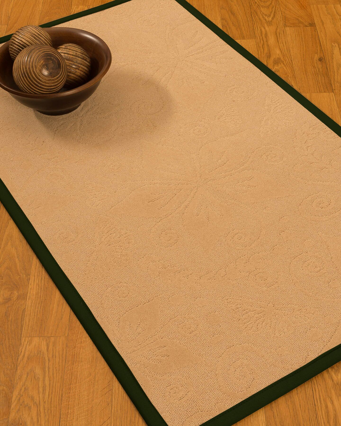 Vanmeter Border Hand-Woven Wool Beige/Moss Area Rug Rug Size: Rectangle 6' x 9', Rug Pad Included: Yes