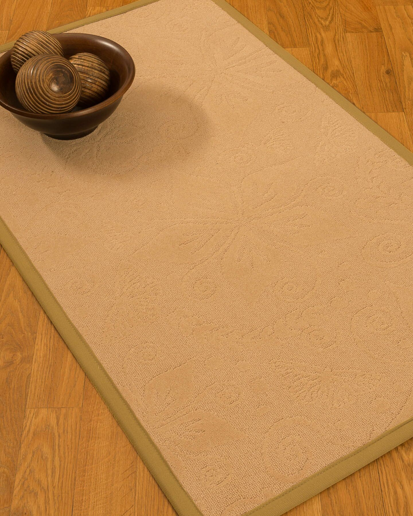 Vanmeter Border Hand-Woven Wool Beige/Sage Area Rug Rug Size: Rectangle 9' x 12', Rug Pad Included: Yes