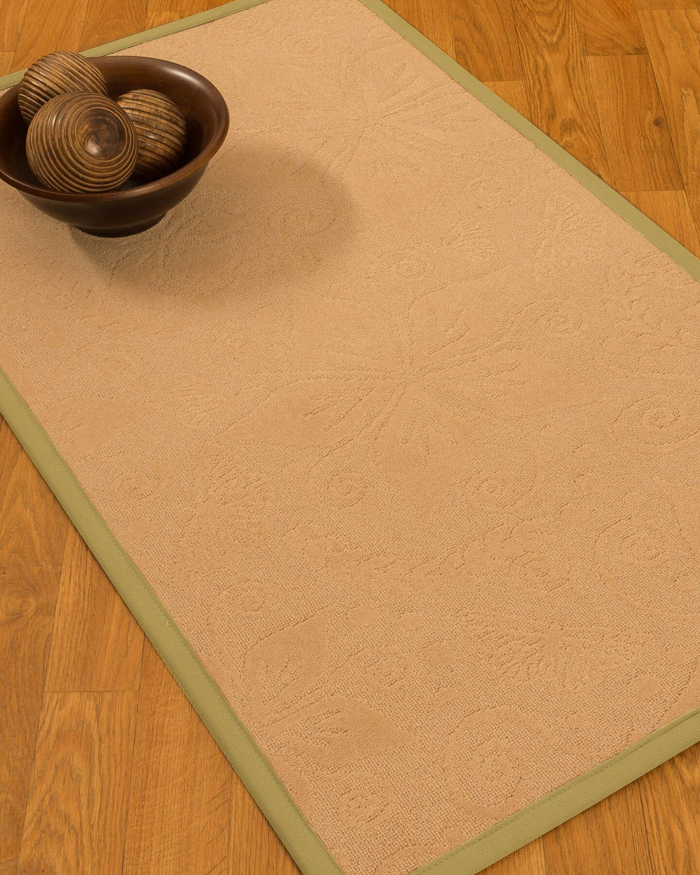 Vanmeter Border Hand-Woven Wool Beige/Green Area Rug Rug Size: Rectangle 9' x 12', Rug Pad Included: Yes