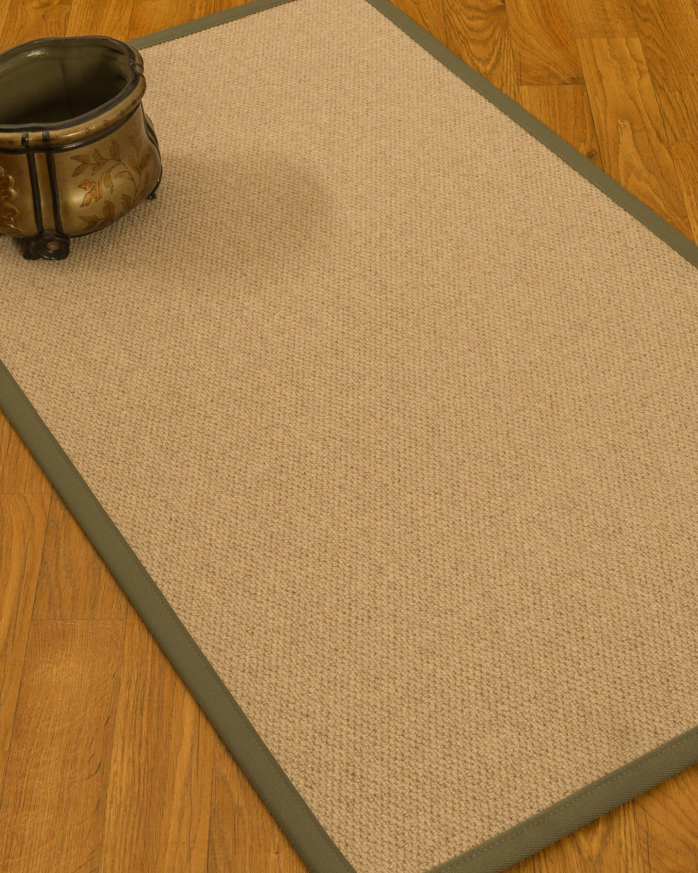Chavira Border Hand-Woven Wool Beige/Fossil Area Rug Rug Size: Rectangle 6' x 9', Rug Pad Included: Yes