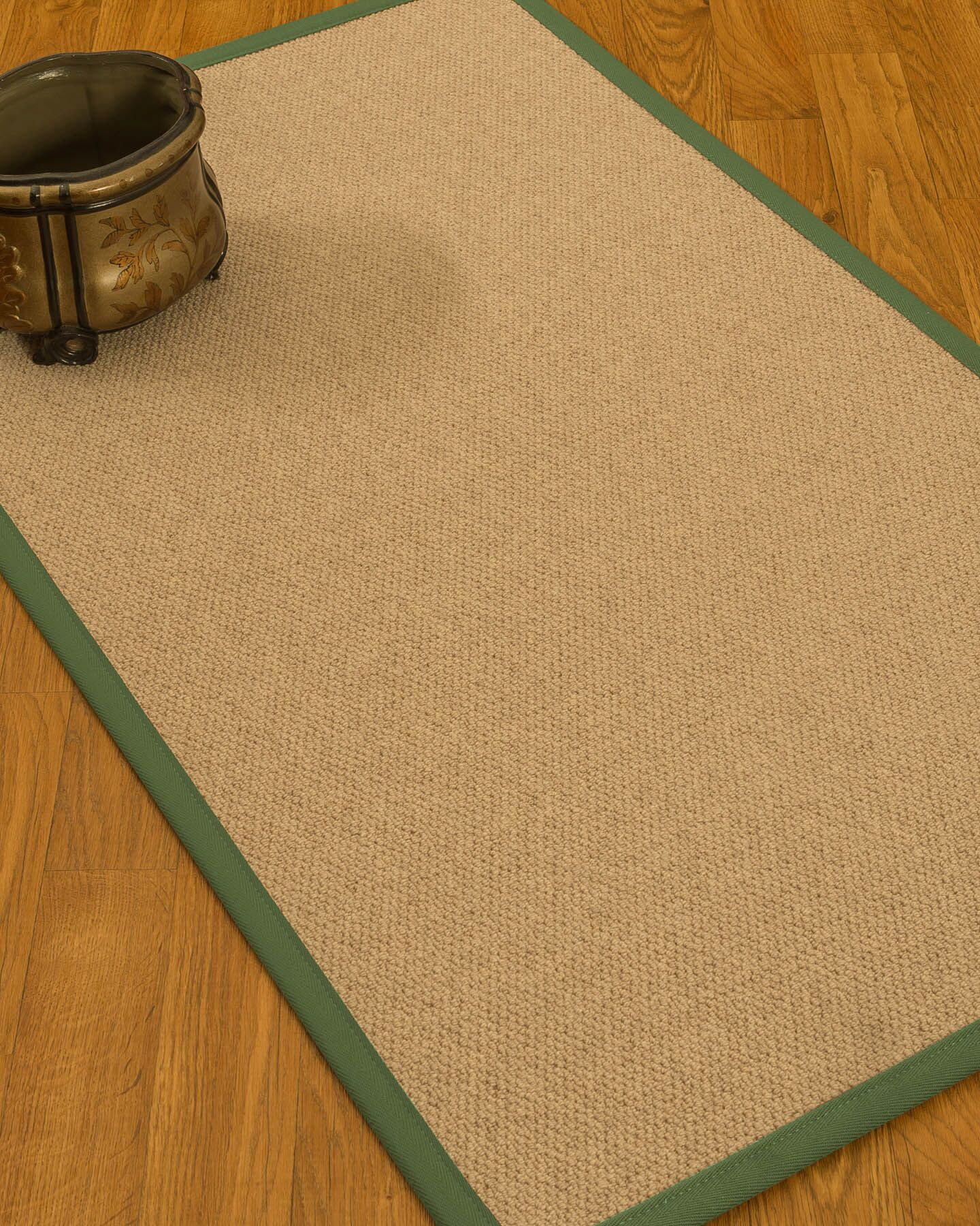 Chavira Border Hand-Woven Wool Beige/Green Area Rug Rug Size: Rectangle 9' x 12', Rug Pad Included: Yes