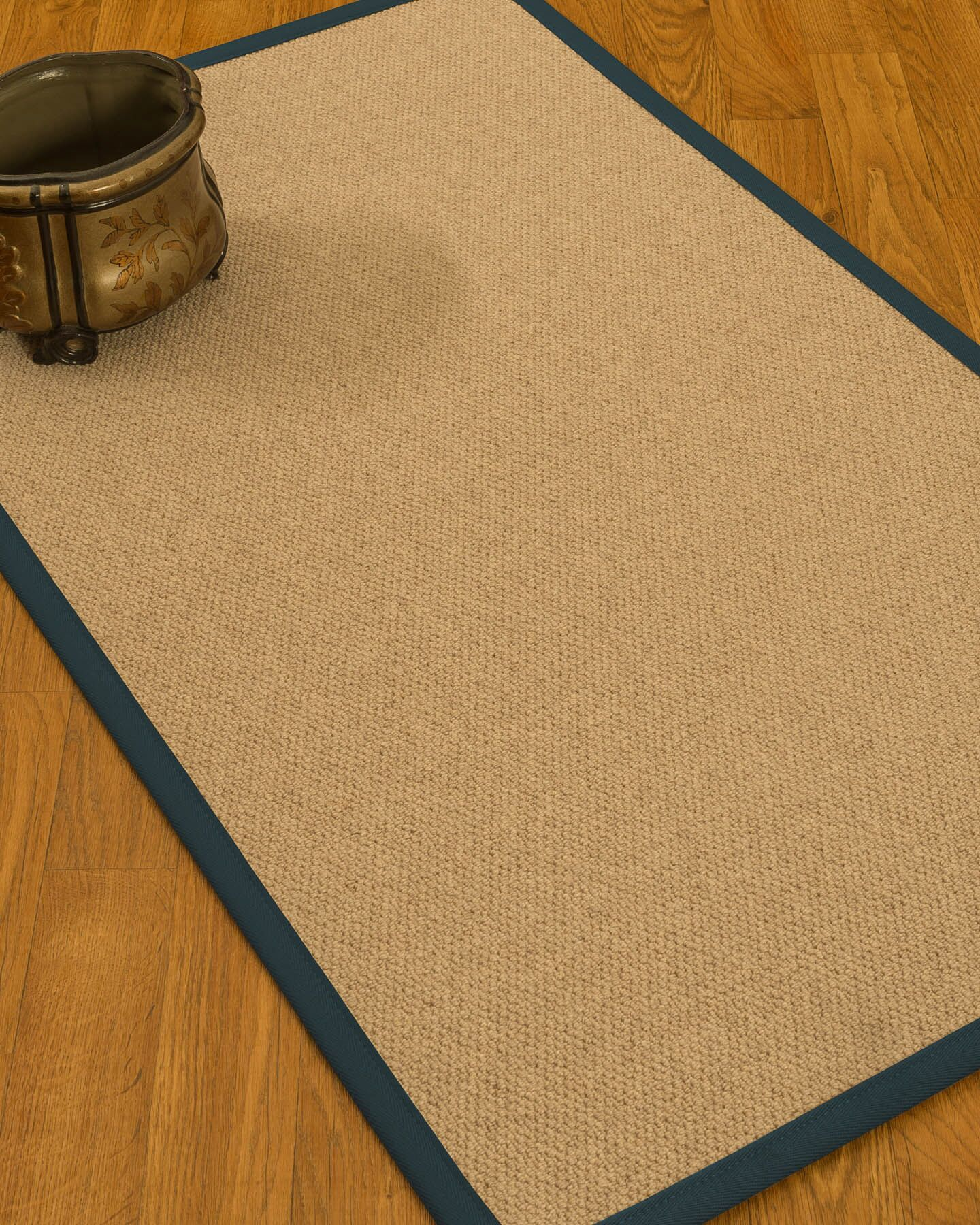 Chavira Border Hand-Woven Wool Beige/Marine Area Rug Rug Size: Rectangle 8' x 10', Rug Pad Included: Yes