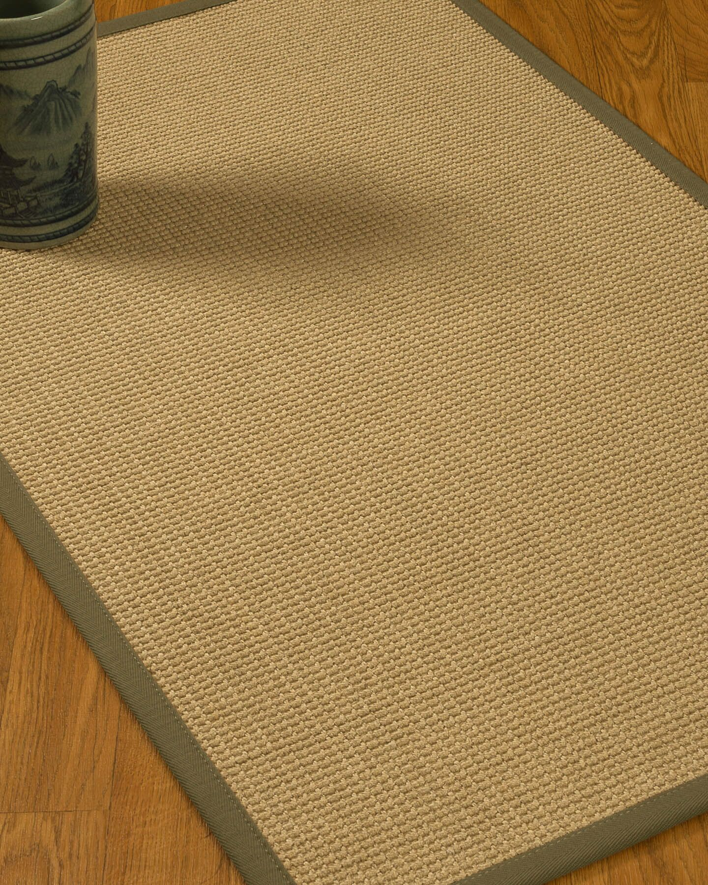 Jacobs Border Hand-Woven Beige/Fossil Area Rug Rug Pad Included: No, Rug Size: Runner 2'6