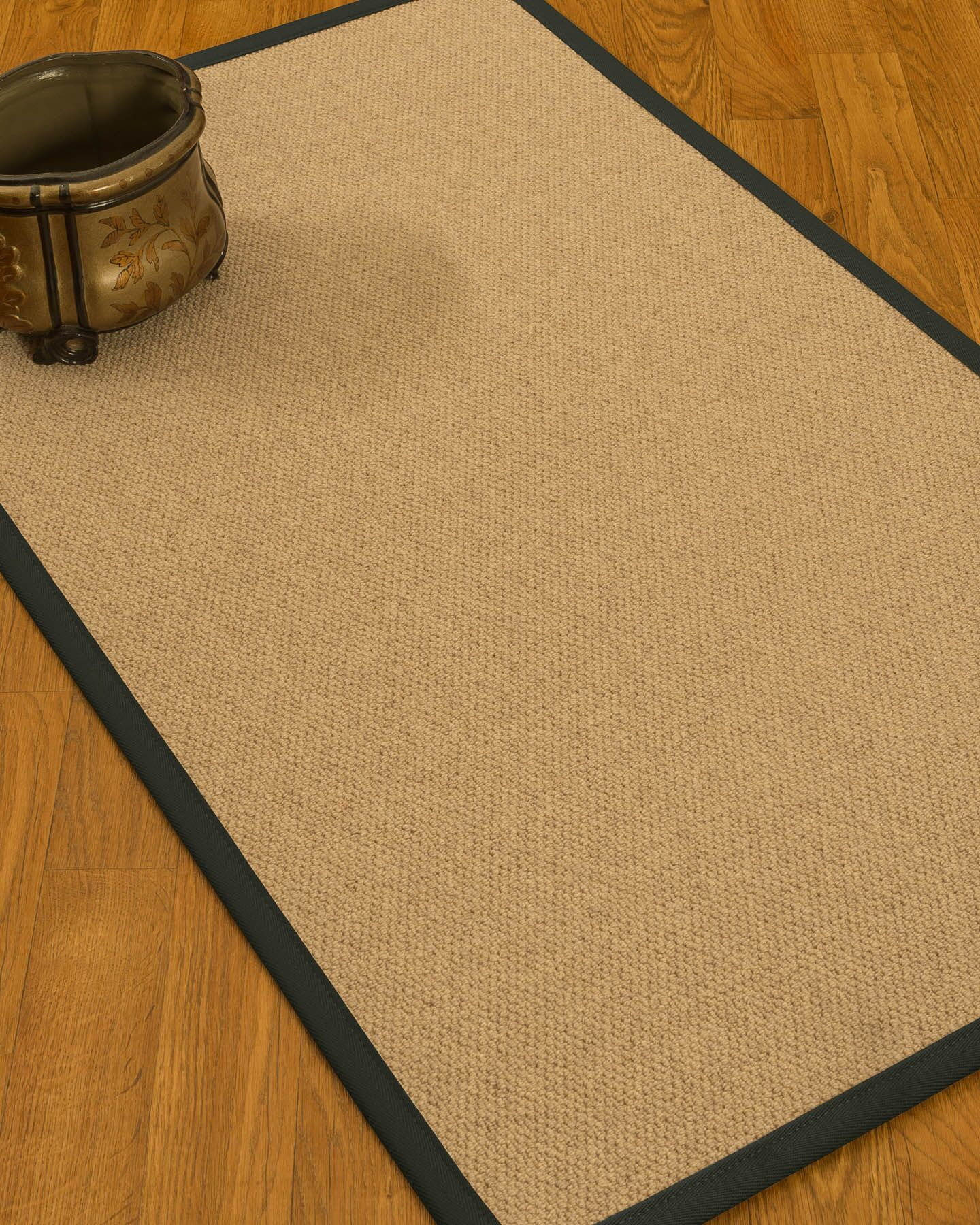 Chavira Border Hand-Woven Wool Beige/Metal Area Rug Rug Size: Rectangle 9' x 12', Rug Pad Included: Yes